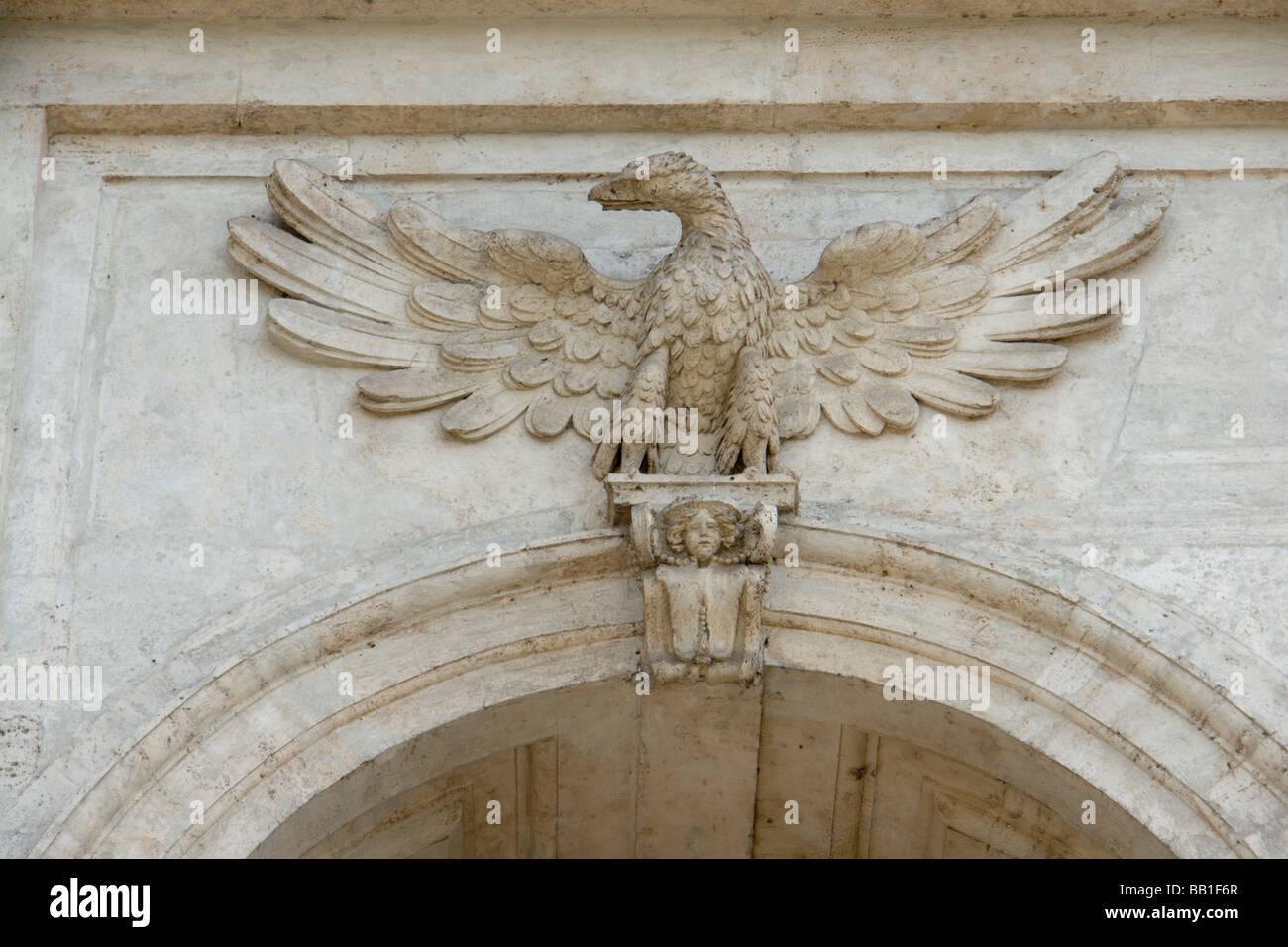 Heraldic symbol Borghese on church San Gregorio al Celio, in Rome - Stock Image