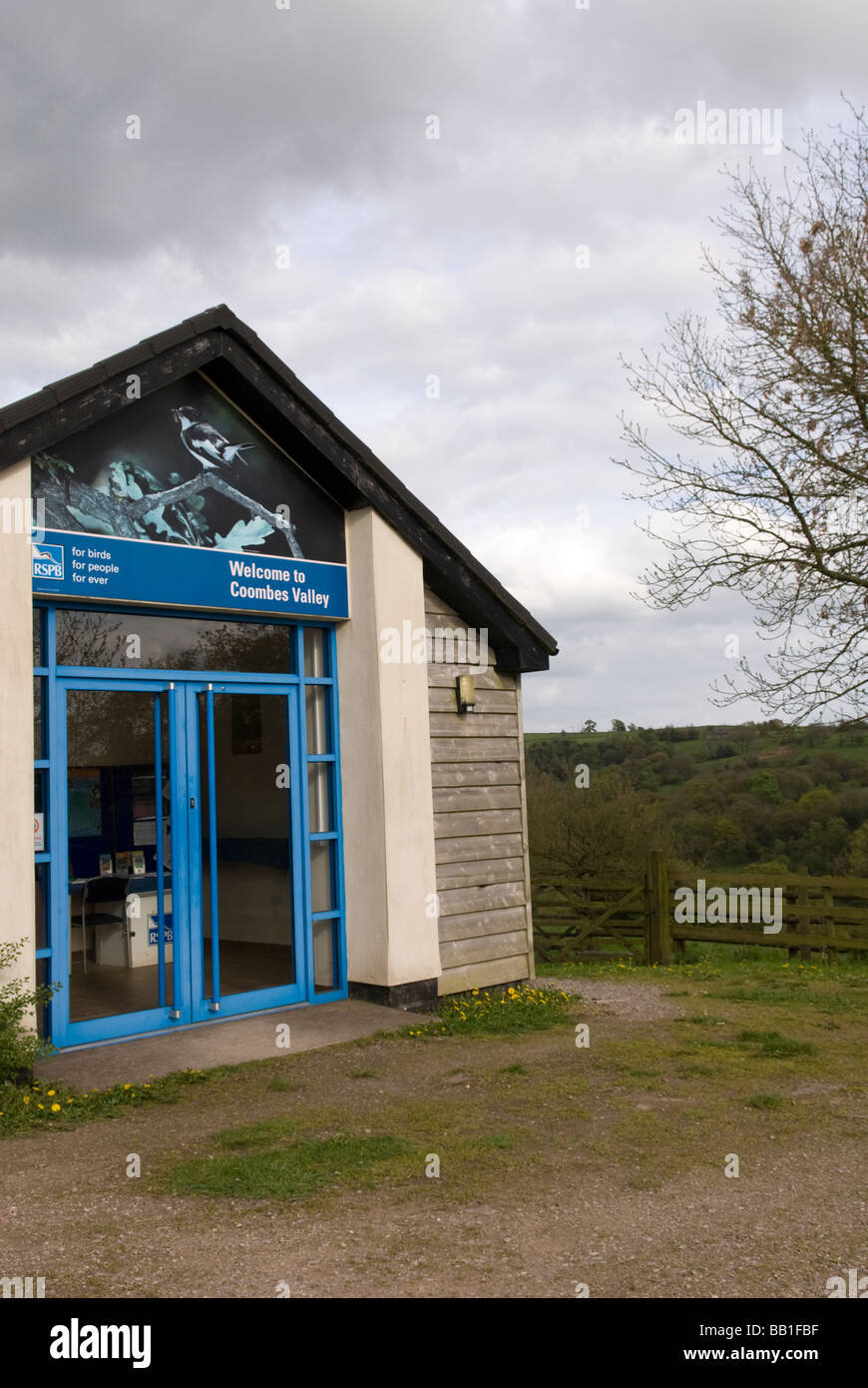 Visitor information centrea at Coombes and Churnet RSPB reserve Leek Staffordshire England - Stock Image