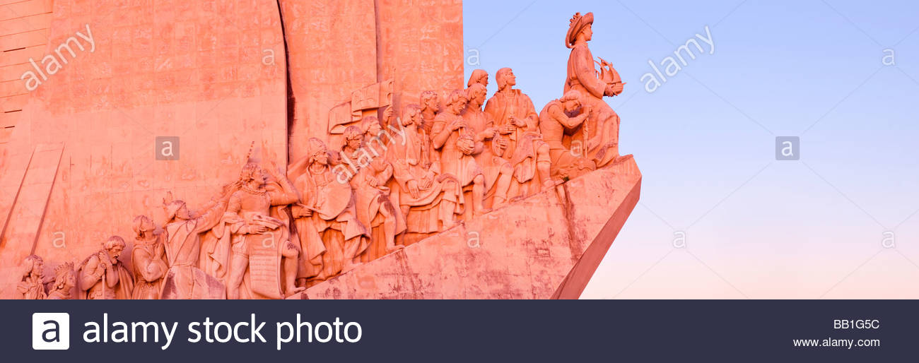 Western profile of the Monument to the Discoveries (Padrão dos Descobrimentos), Belém, Lisbon, Portugal. Stock Photo