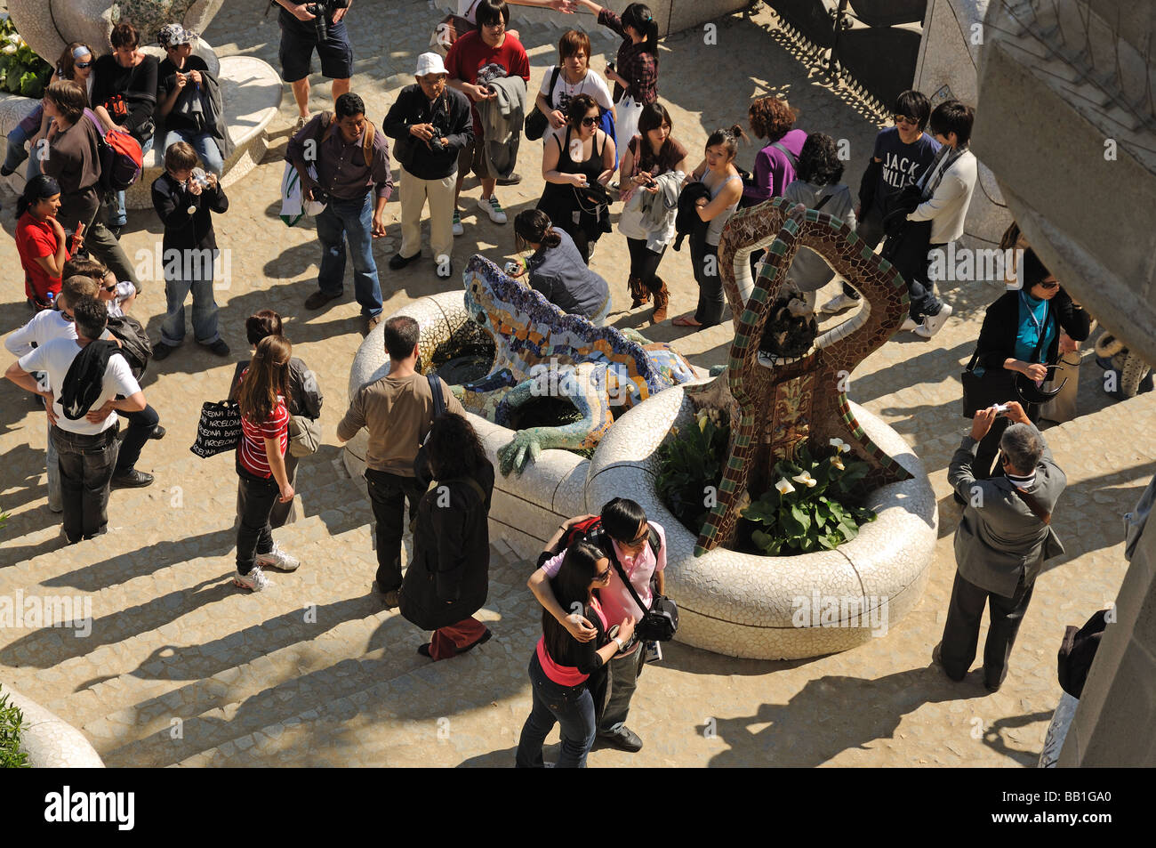 Tourists in Parc Güell, Barcelona Spain - Stock Image