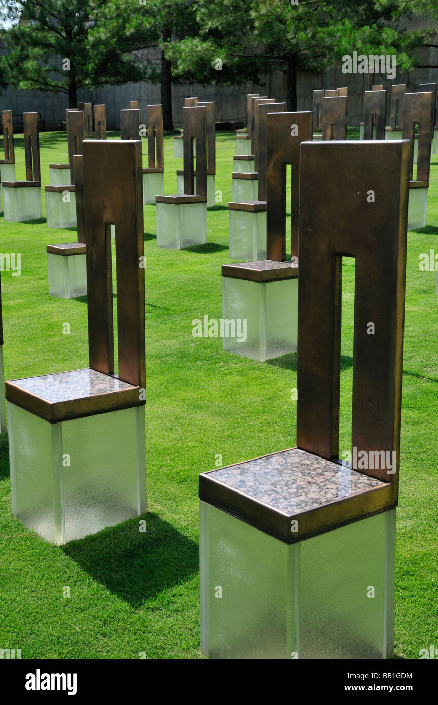 Field of Empty Chairs at the Oklahoma City National Memorial Each chair represents a life taken in the bombing Stock Photo