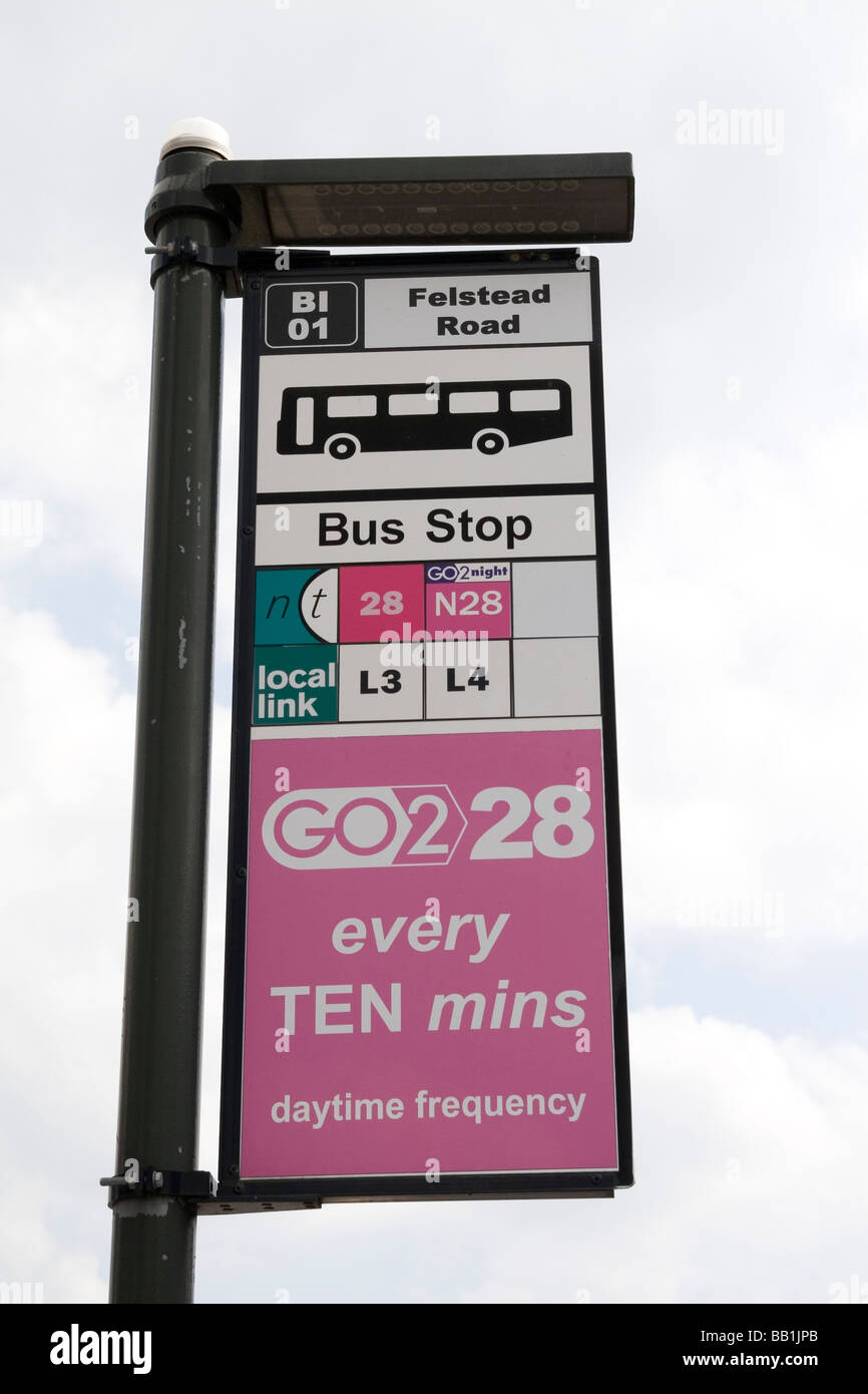 A bus stop sign in Nottingham Stock Photo