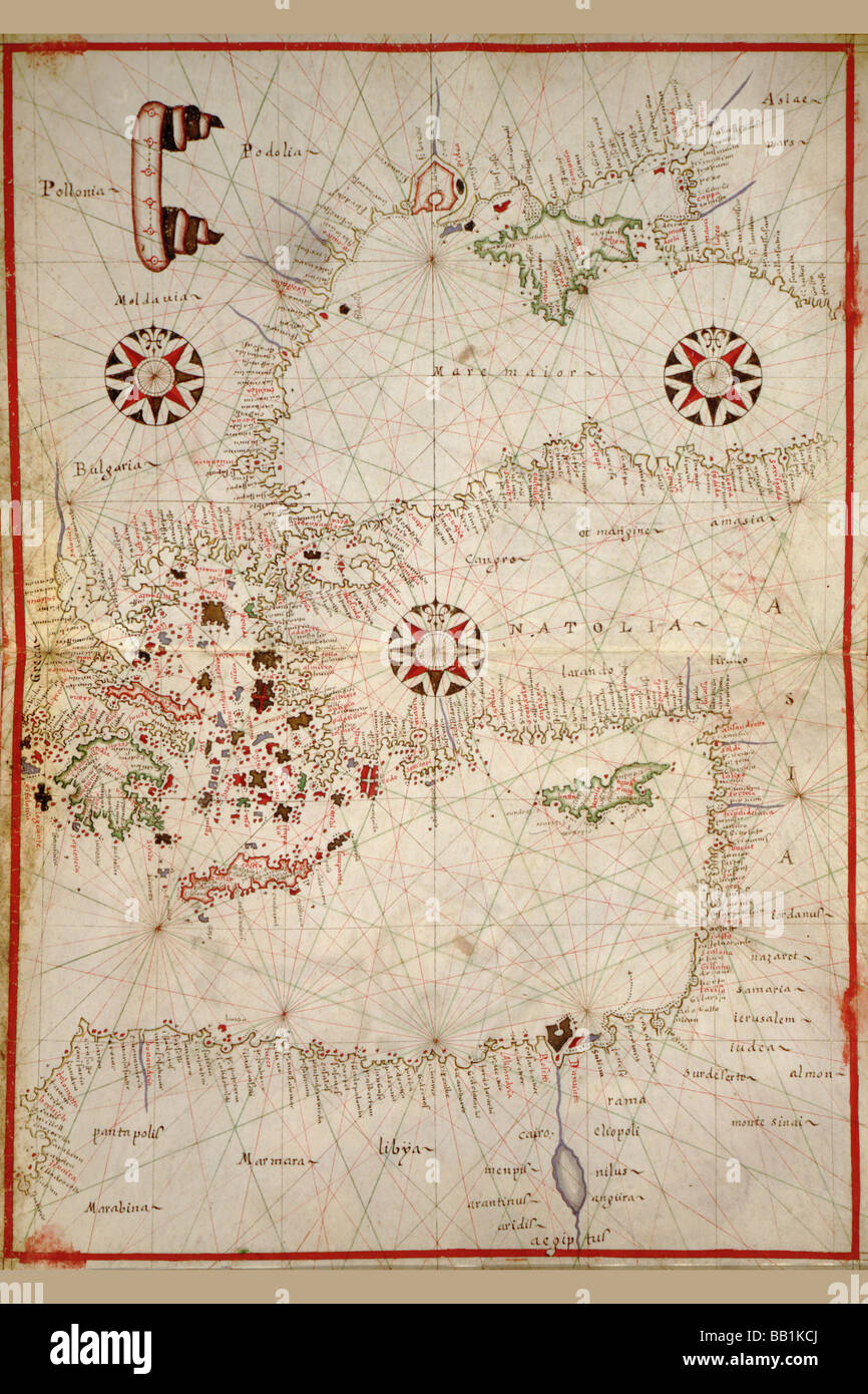 Portolan Map of Turkey,Mediterranean,Adriatic and the Agean - Stock Image