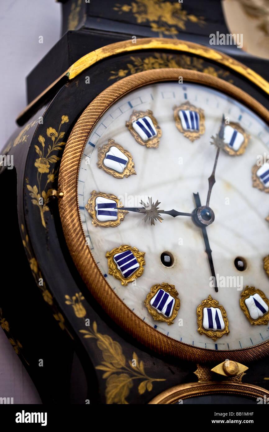 Antique clock face at the antique market Neuchatel Switzerland - Stock Image