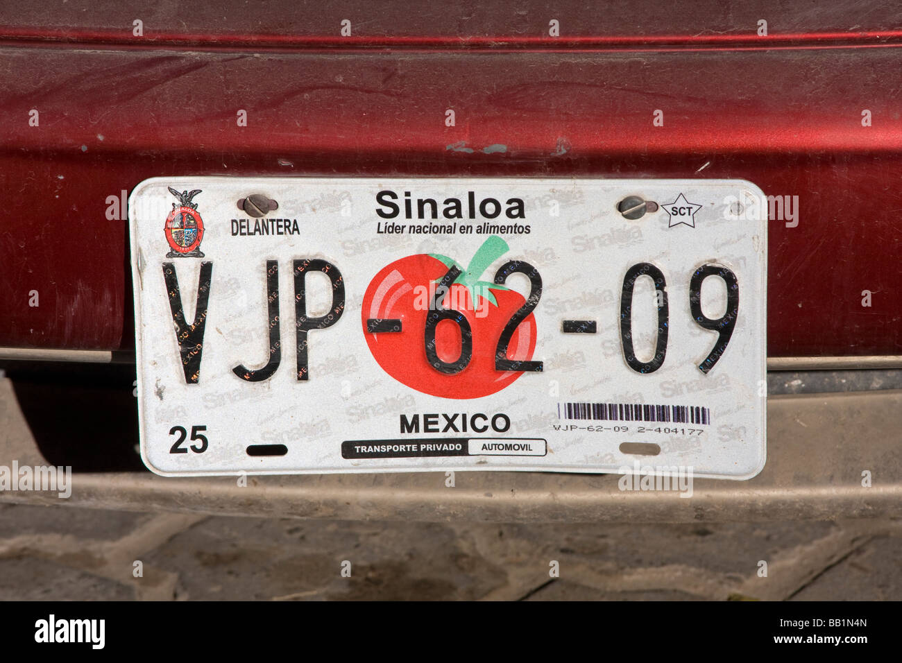 Car licence tag for Sinaloa state Mexico - Stock Image