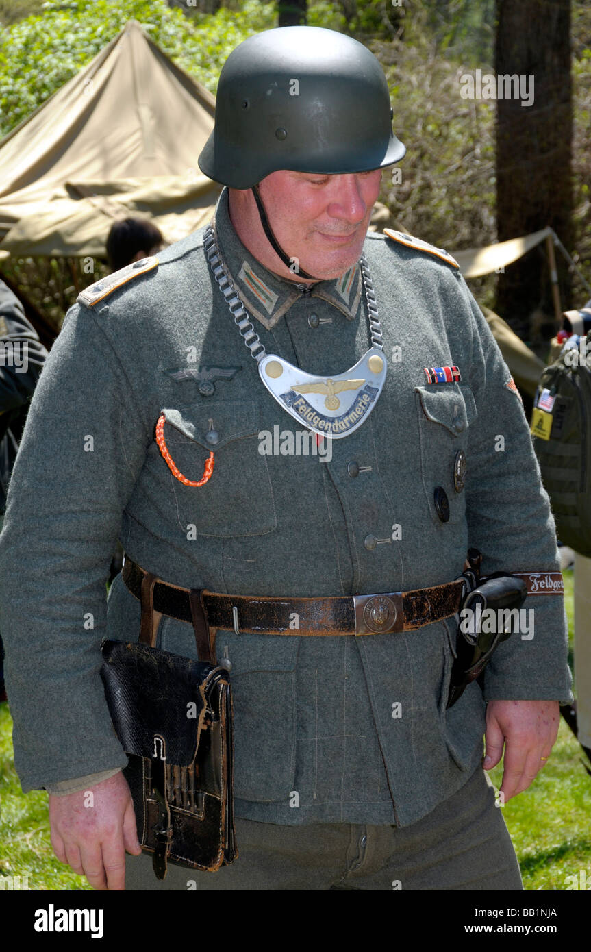 German Nazi soldier during WWII at reenactment of World WarII in Glendale, Maryland - Stock Image