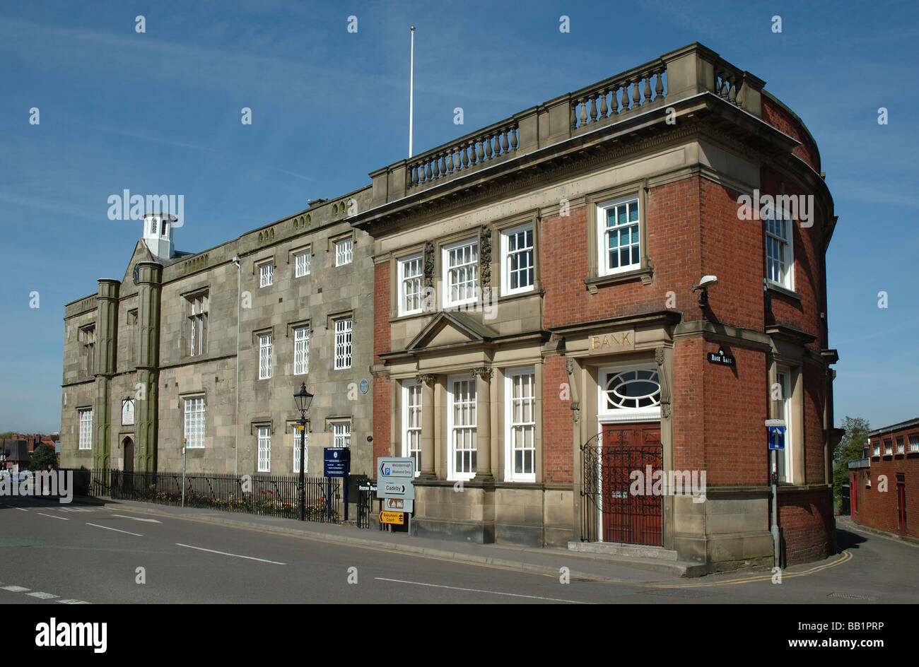 The Dixie Grammar School and the Bank Building, Market Place, Market Bosworth, Leicestershire, England, UK - Stock Image