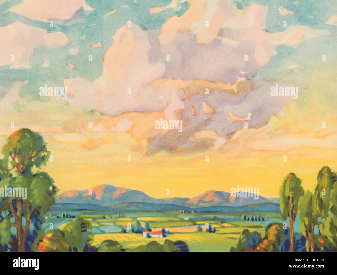 Landscape and Summer Clouds - Stock Image