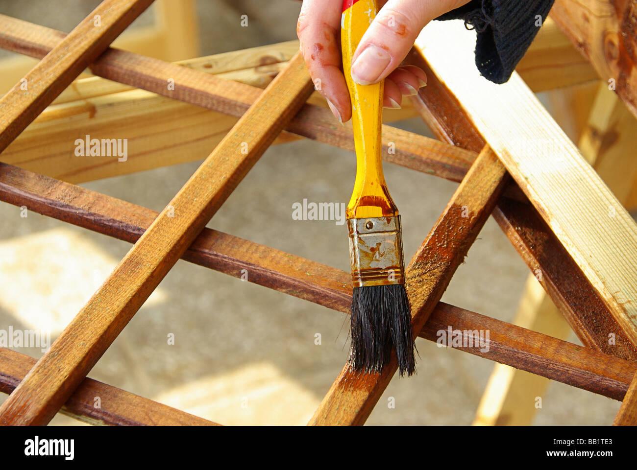 Pinsel Streichen Lasur Holz Malern Renovieren Farbe Hand Stock