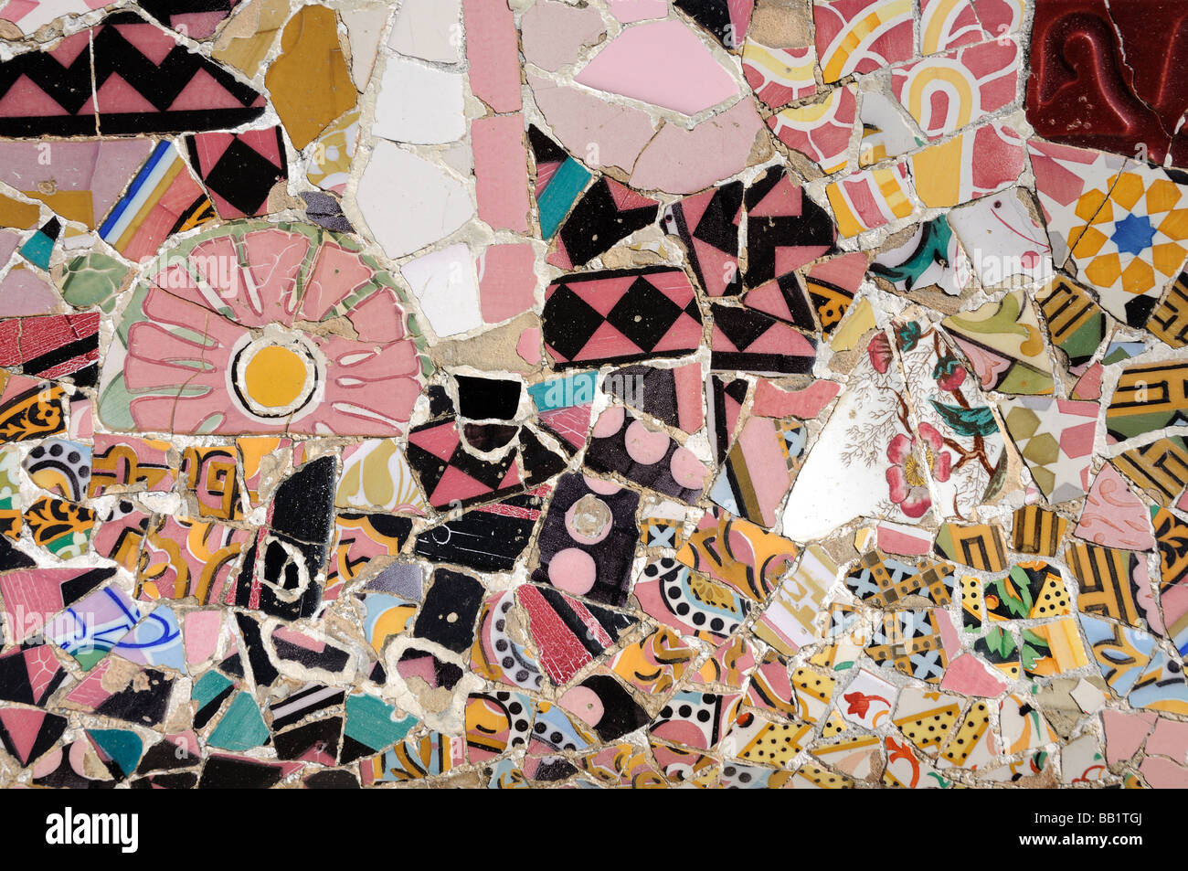 Colorful mosaic in Antoni Gaudis Park Güell in Barcelona, Spain - Stock Image