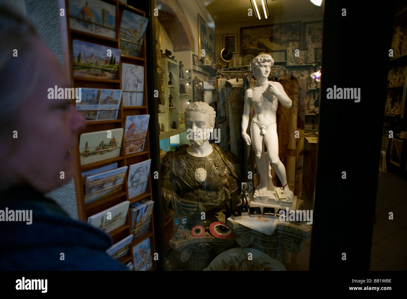 Florence Tuscany Italy The city of the Renaissance Photo shows Tourist shop selling tourist tat of Florence such - Stock Image