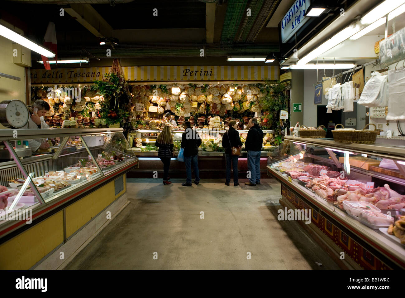 Florence Tuscany Italy The city of the Renaissance Photo shows The Mercato Centrale Central Market from 1874 Meats - Stock Image