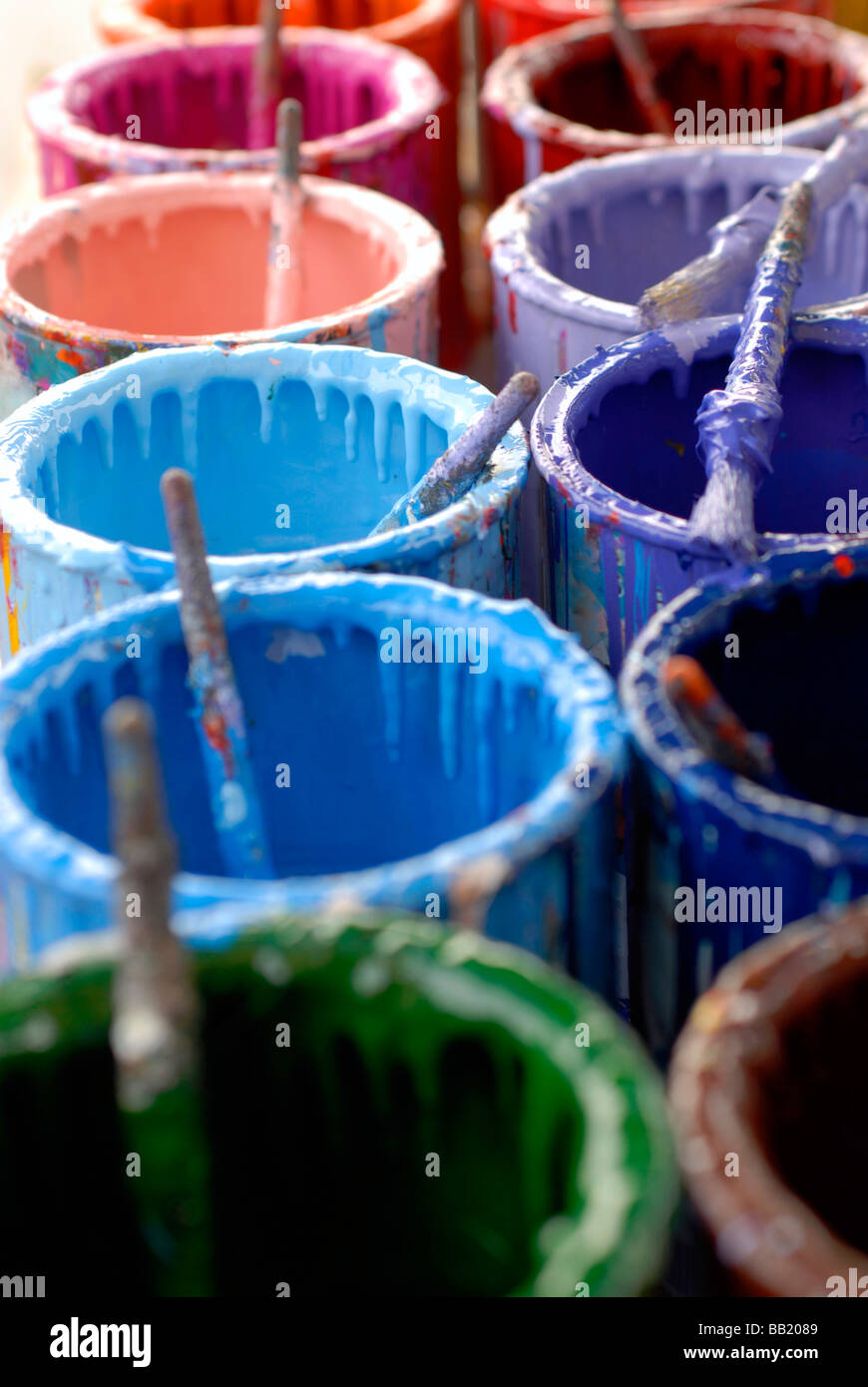 Colour Cans - Stock Image