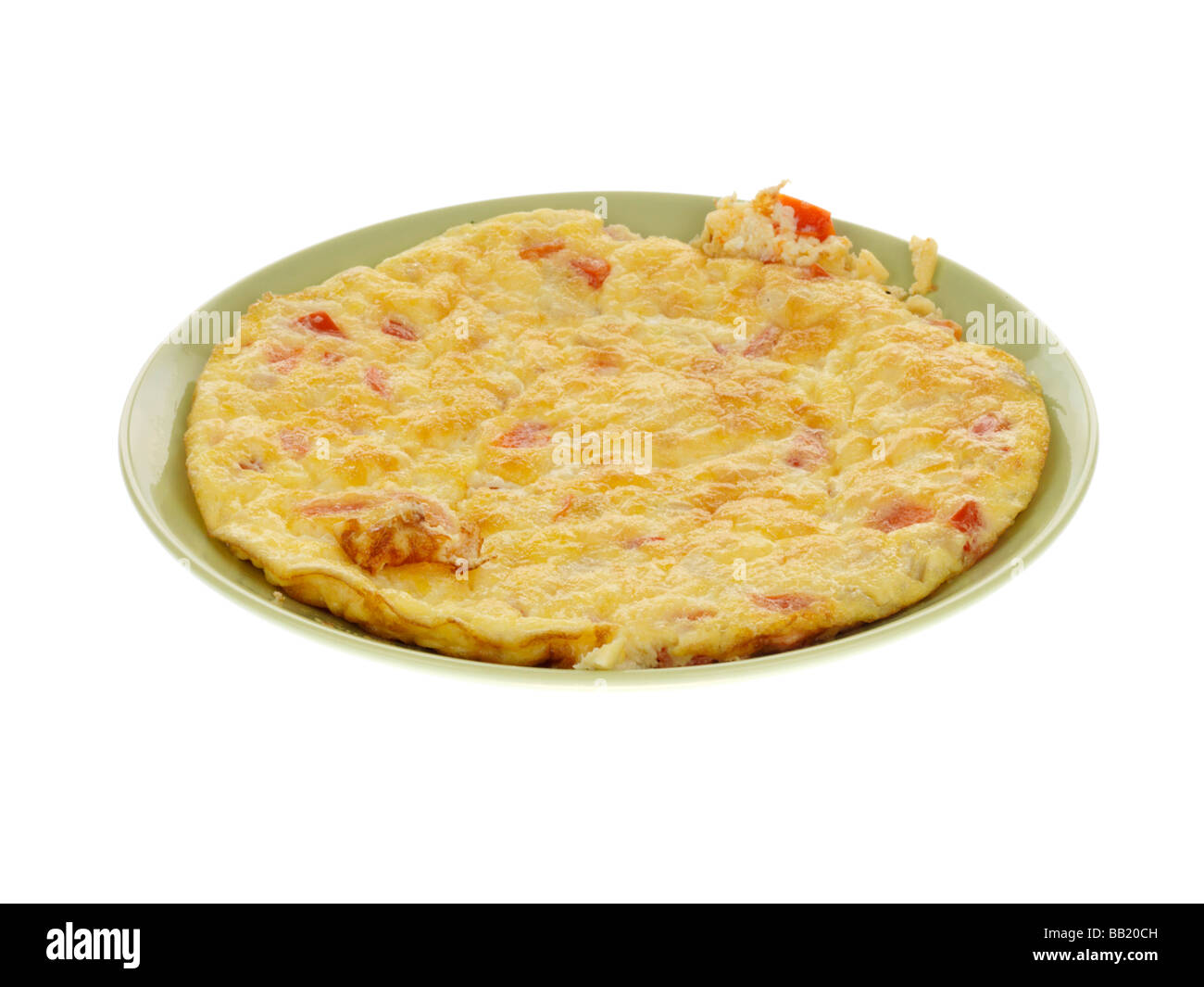 Frittata with Red Pepper Cheese and Shallots - Stock Image