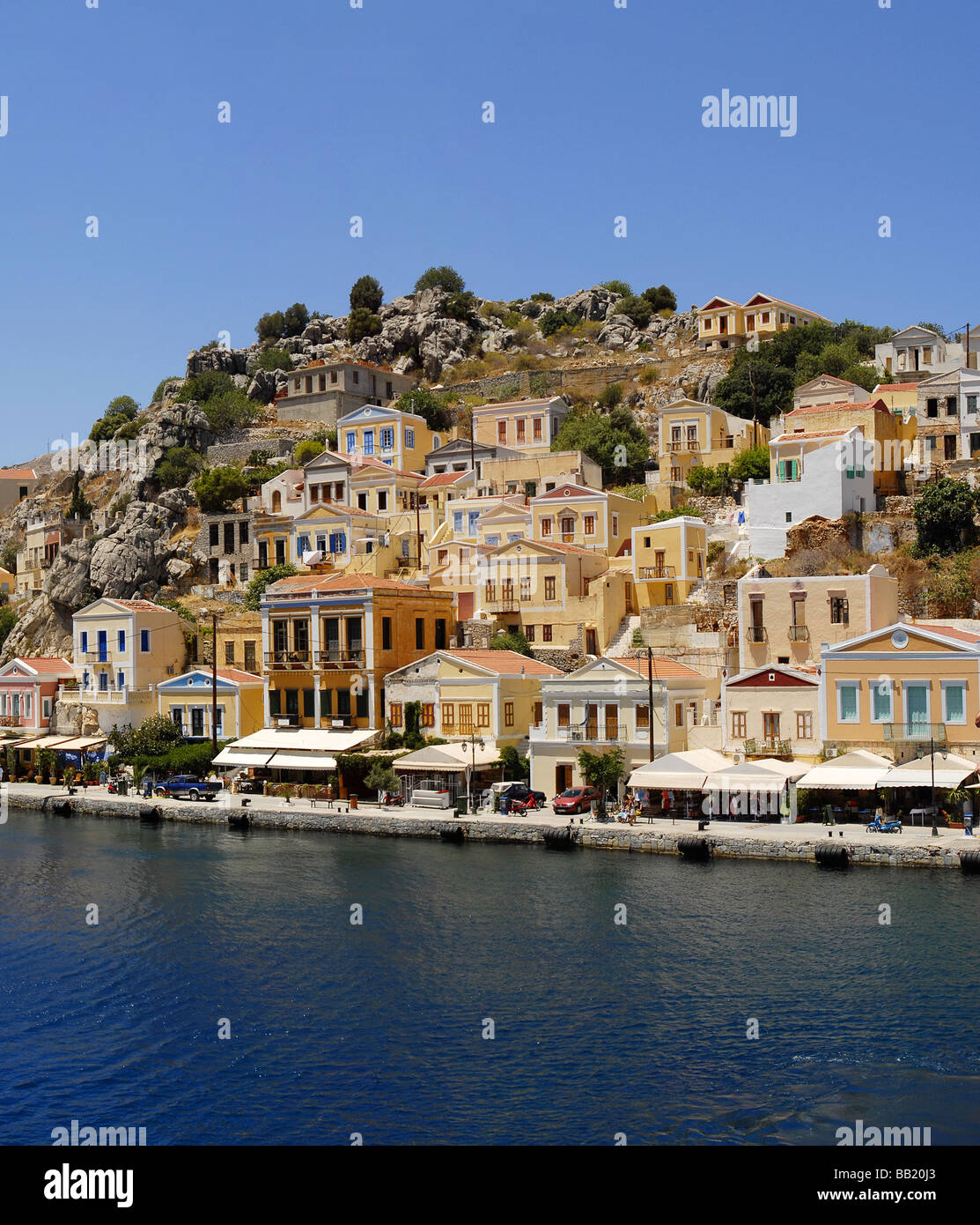 The Harbour Gialos Yialos city of Symi Greece - Stock Image