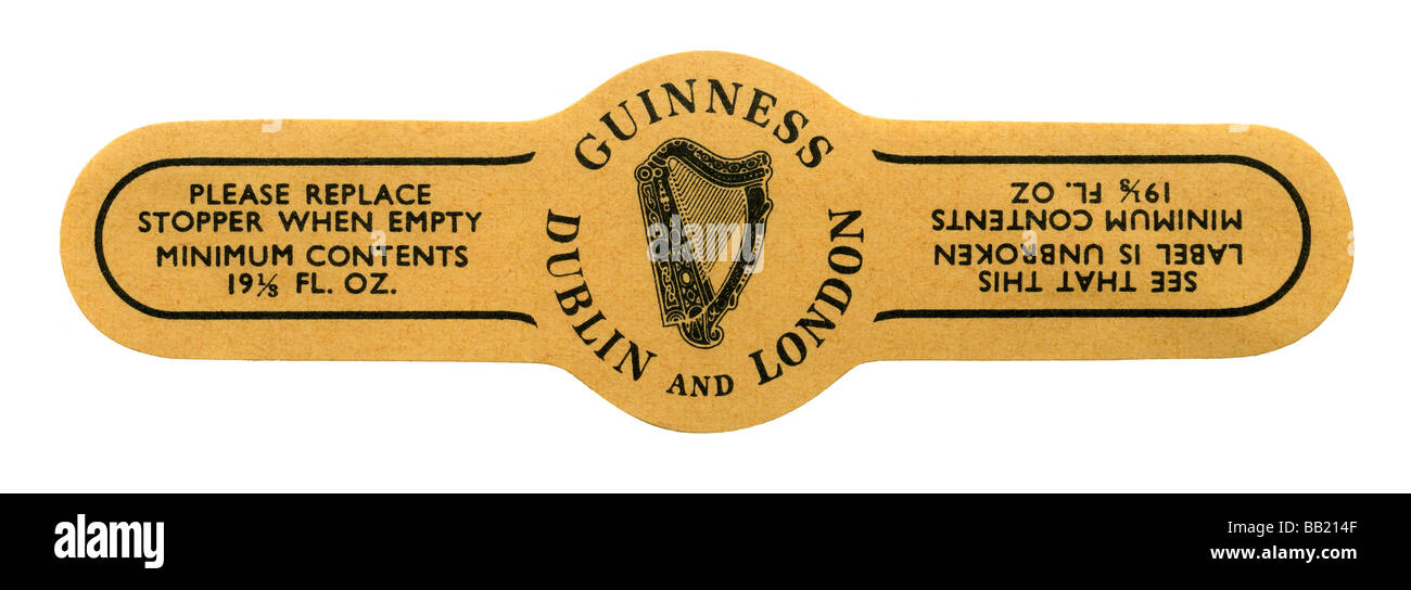 Old Guinness stopper label, Dublin and London - Stock Image