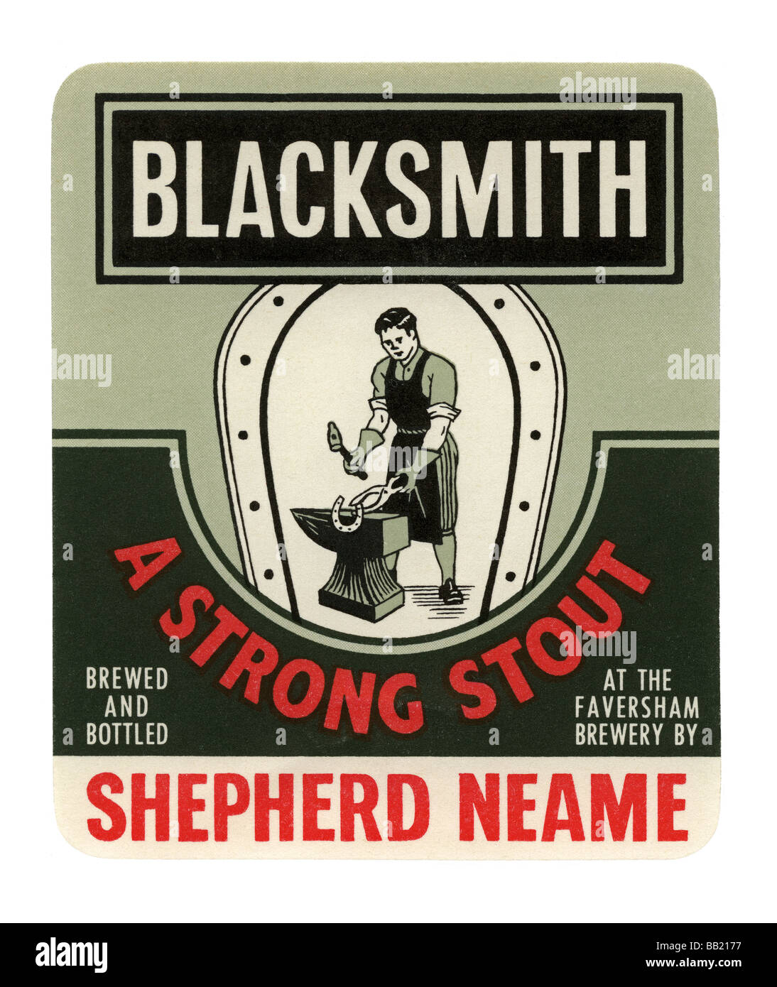 Old British beer label for Shepherd Neame's Blacksmith Strong Stout, Faversham, Kent - Stock Image