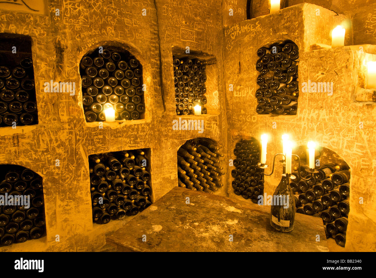Europe, Netherlands, Limburg, Maastricht, Chateau Neercanne, Wine celler - Stock Image