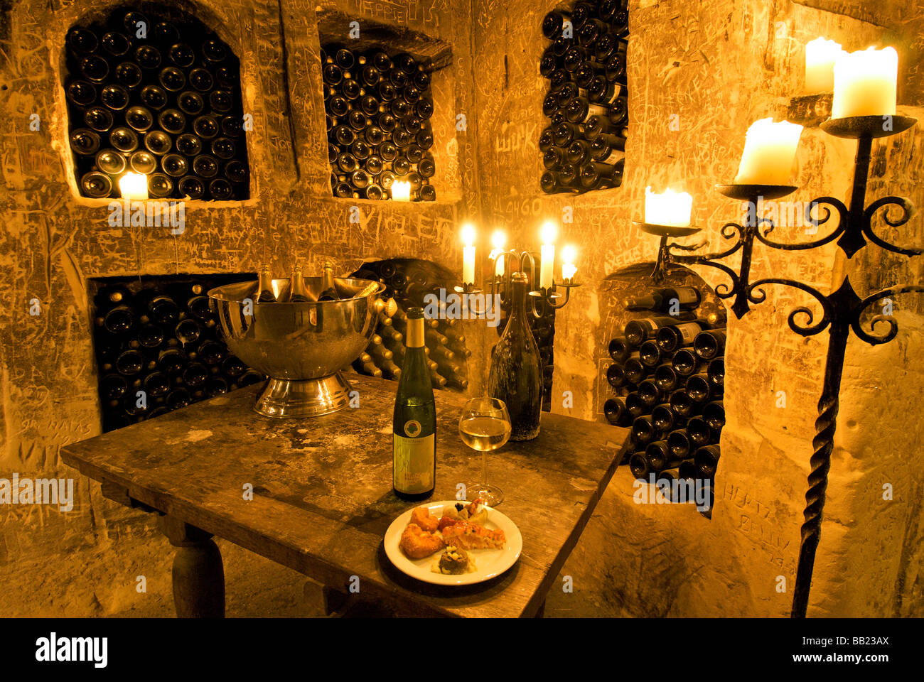Europe, Netherlands, Limburg, Maastricht, Chateau Neercanne interior of wine celler, Terraced Castle, Unesco - Stock Image