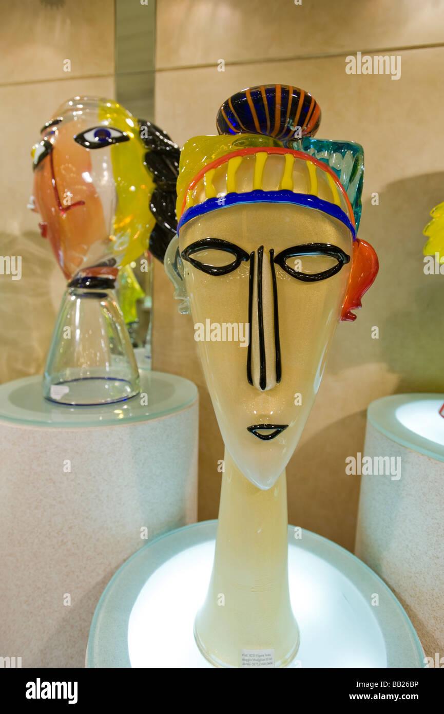 Display of modern glass art work, Murano glass works, Venice, Italy. - Stock Image
