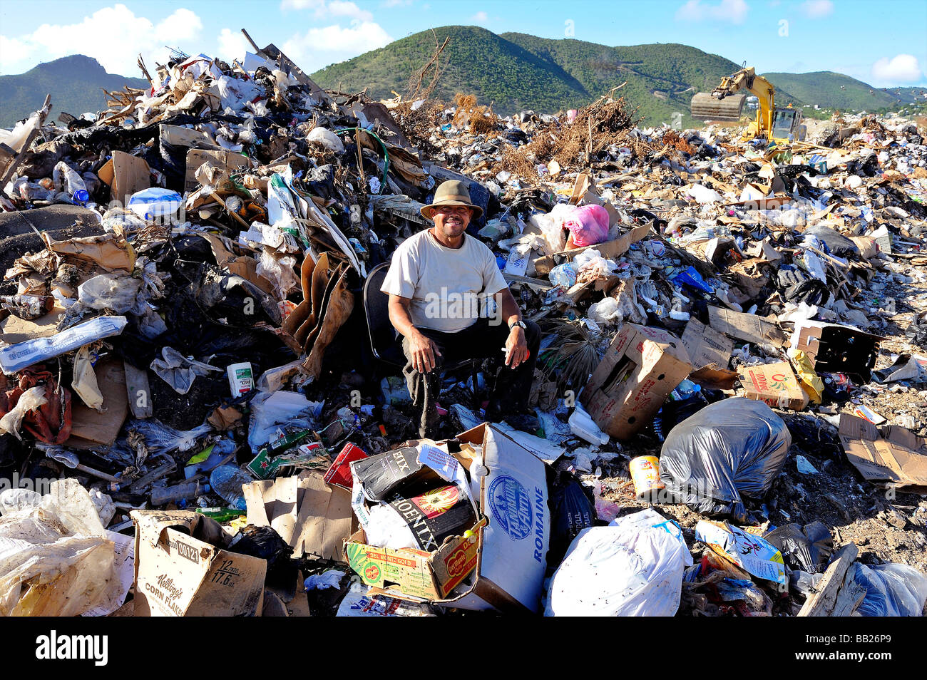 Sint Maarten the great salt pond landfill is used as a garbage dump People live here - Stock Image