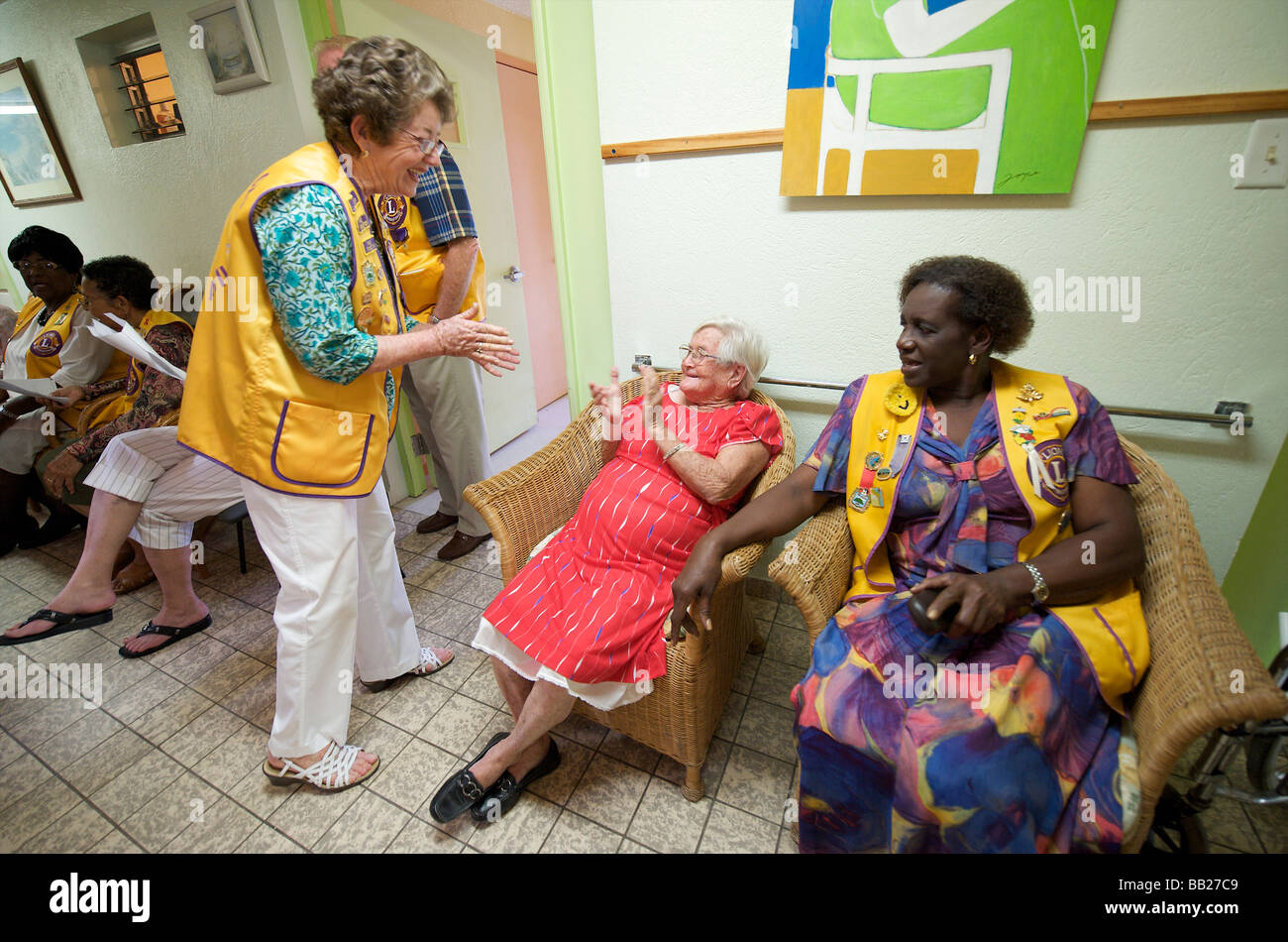 Saba the Bottom the Lions Club in the Henry Every Old Age Home during their annual senior citizens day - Stock Image