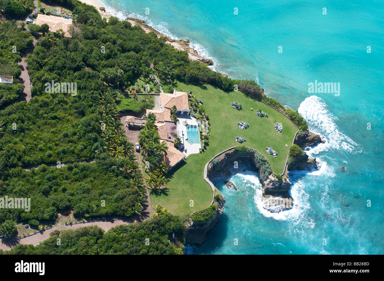 St Martin lowlands houses of the ultra rich - Stock Image