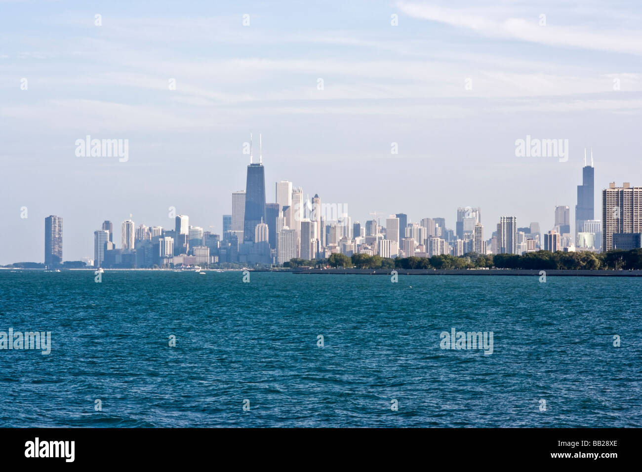 Chicago IL seen from the north - Stock Image