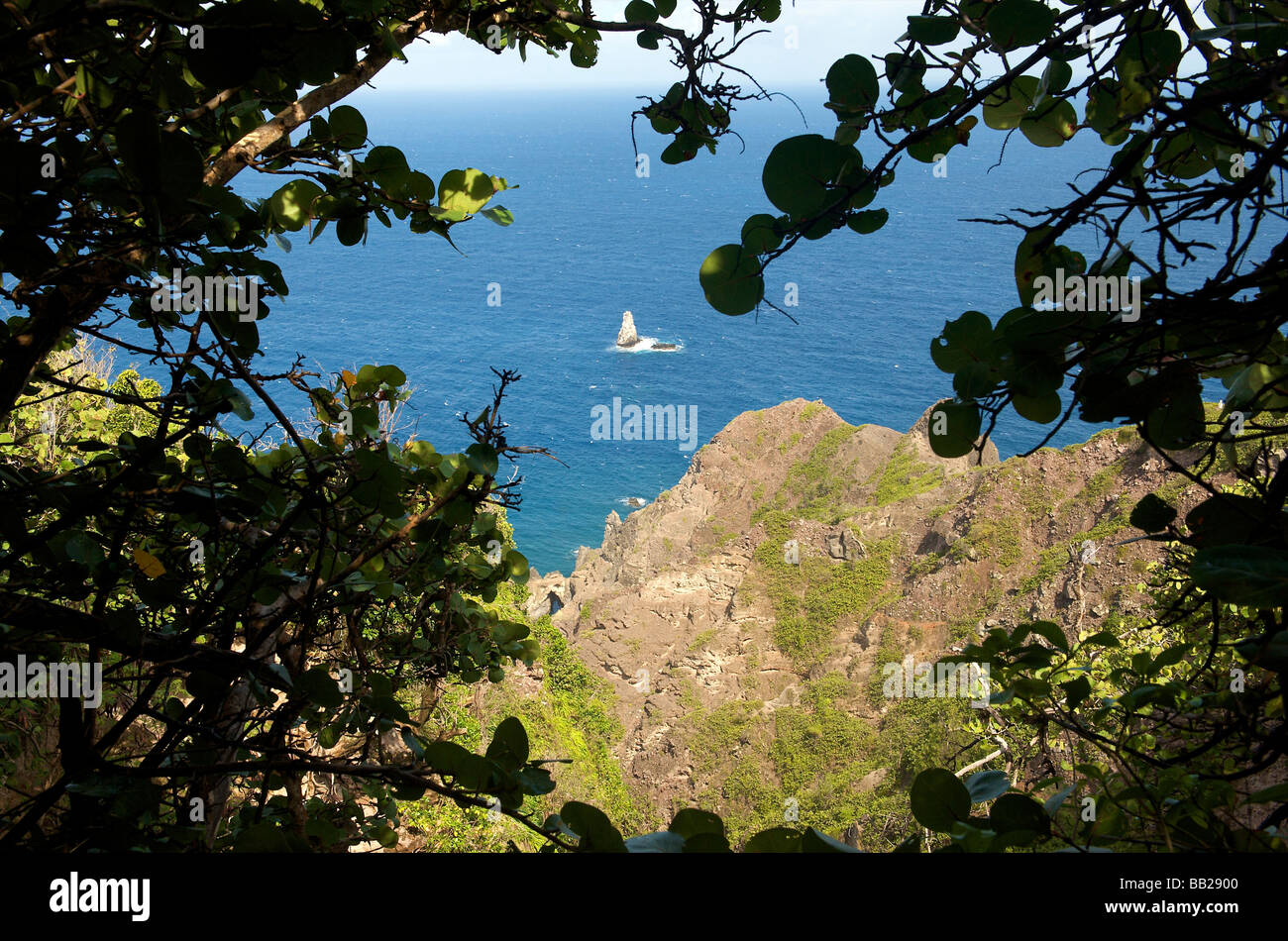 Saba view on Diamond Rock from Mary s Point - Stock Image