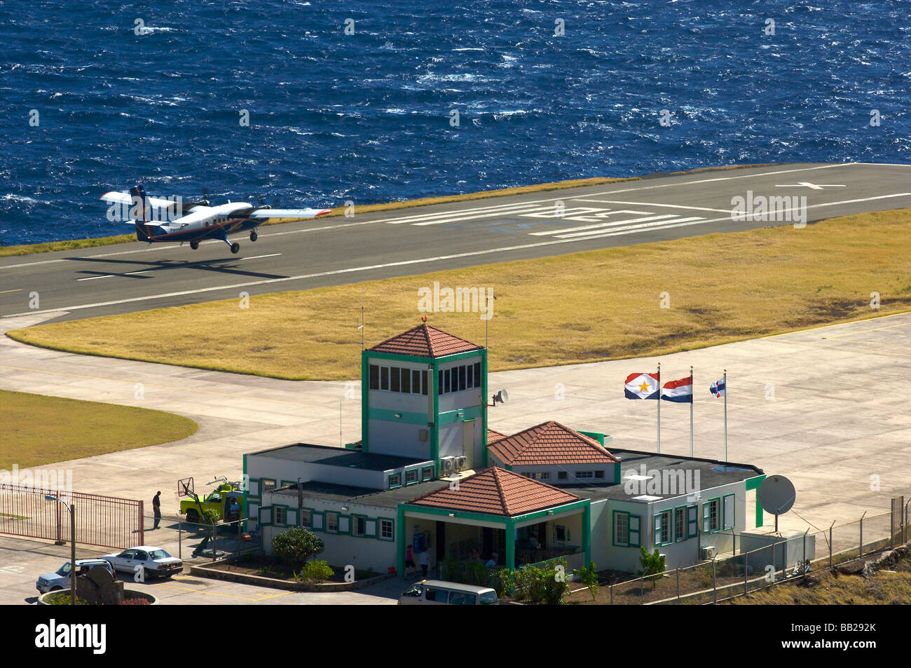 Saba airport the shortest commercial runway in the world - Stock Image