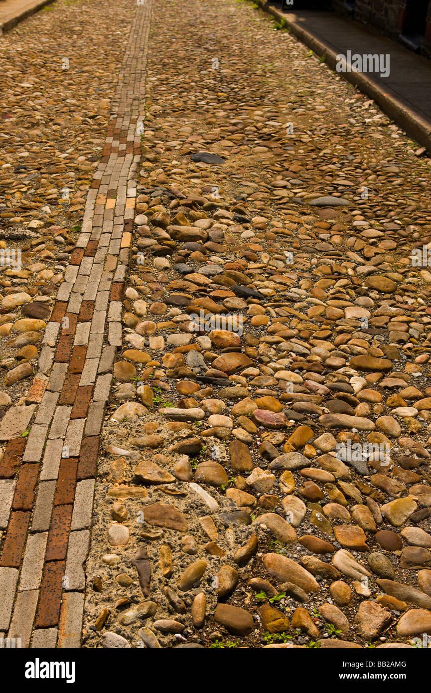 ALEXANDRIA VIRGINIA USA cobblestone street - Stock Image
