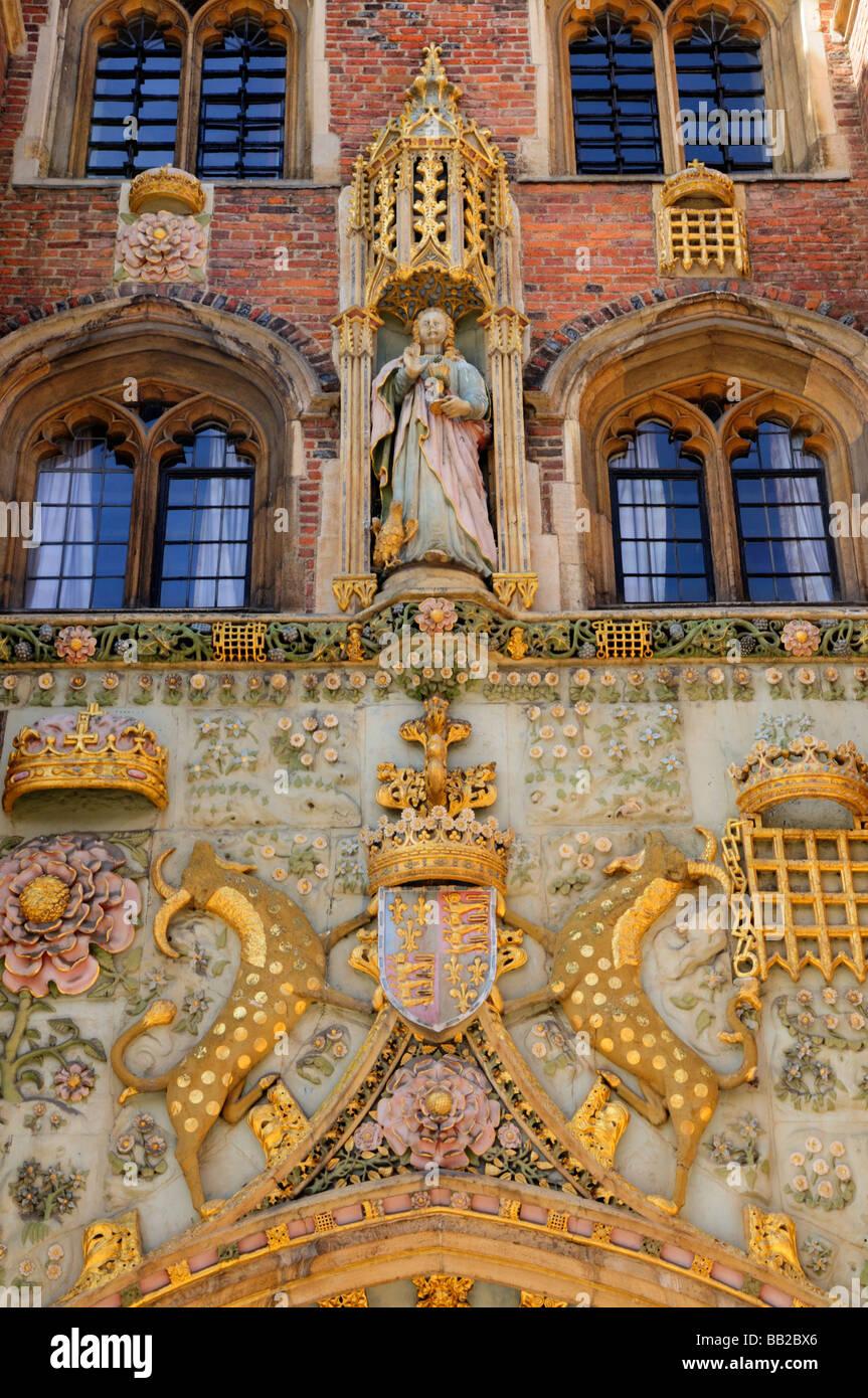 Detail of St Johns College Gatehouse cambridge England Uk - Stock Image