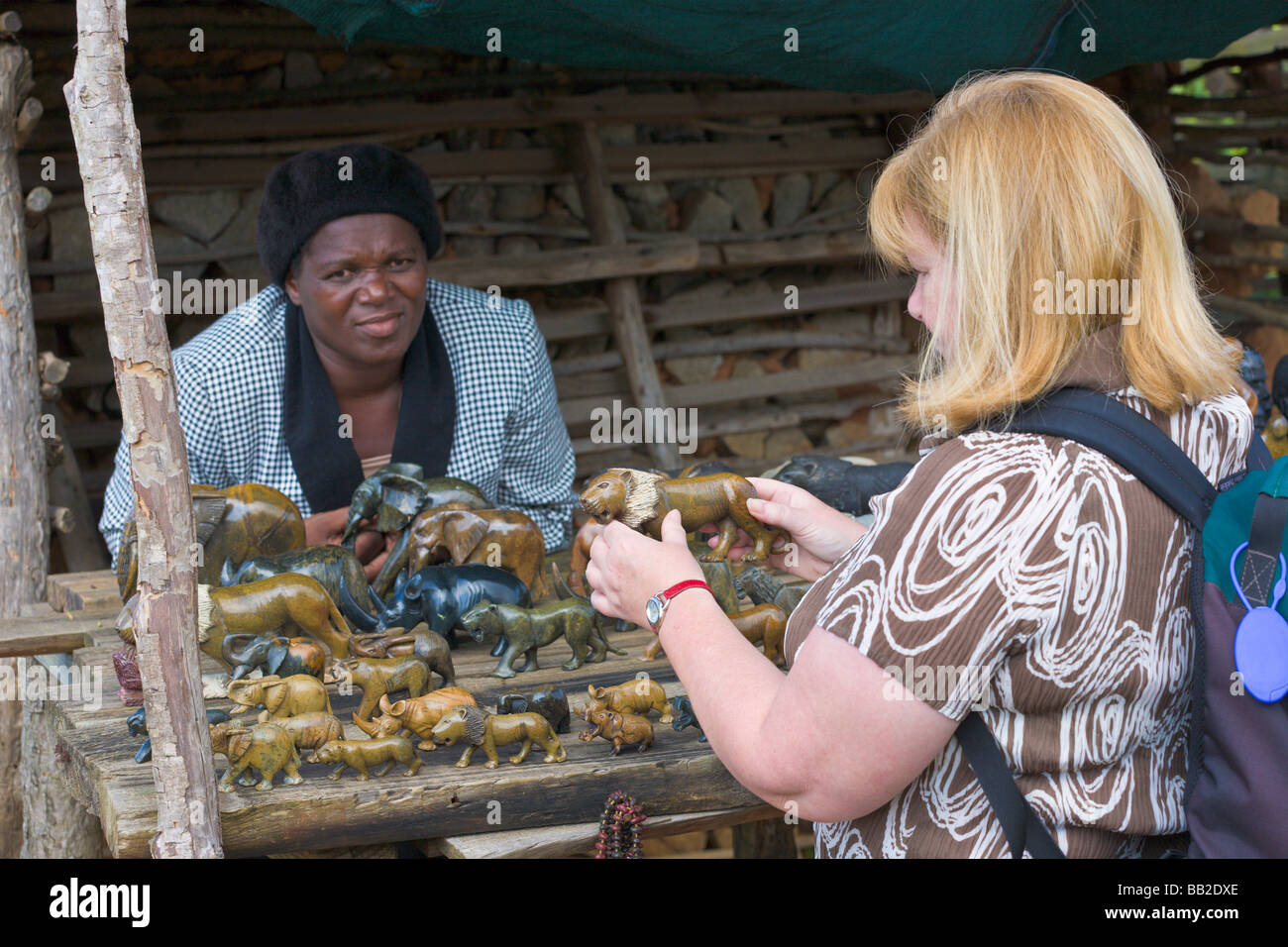 Tourist looking at souvenirs, Swaziland - Stock Image