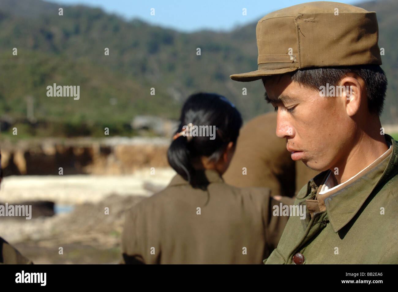 Member of the Peoples Army North Korea - Stock Image