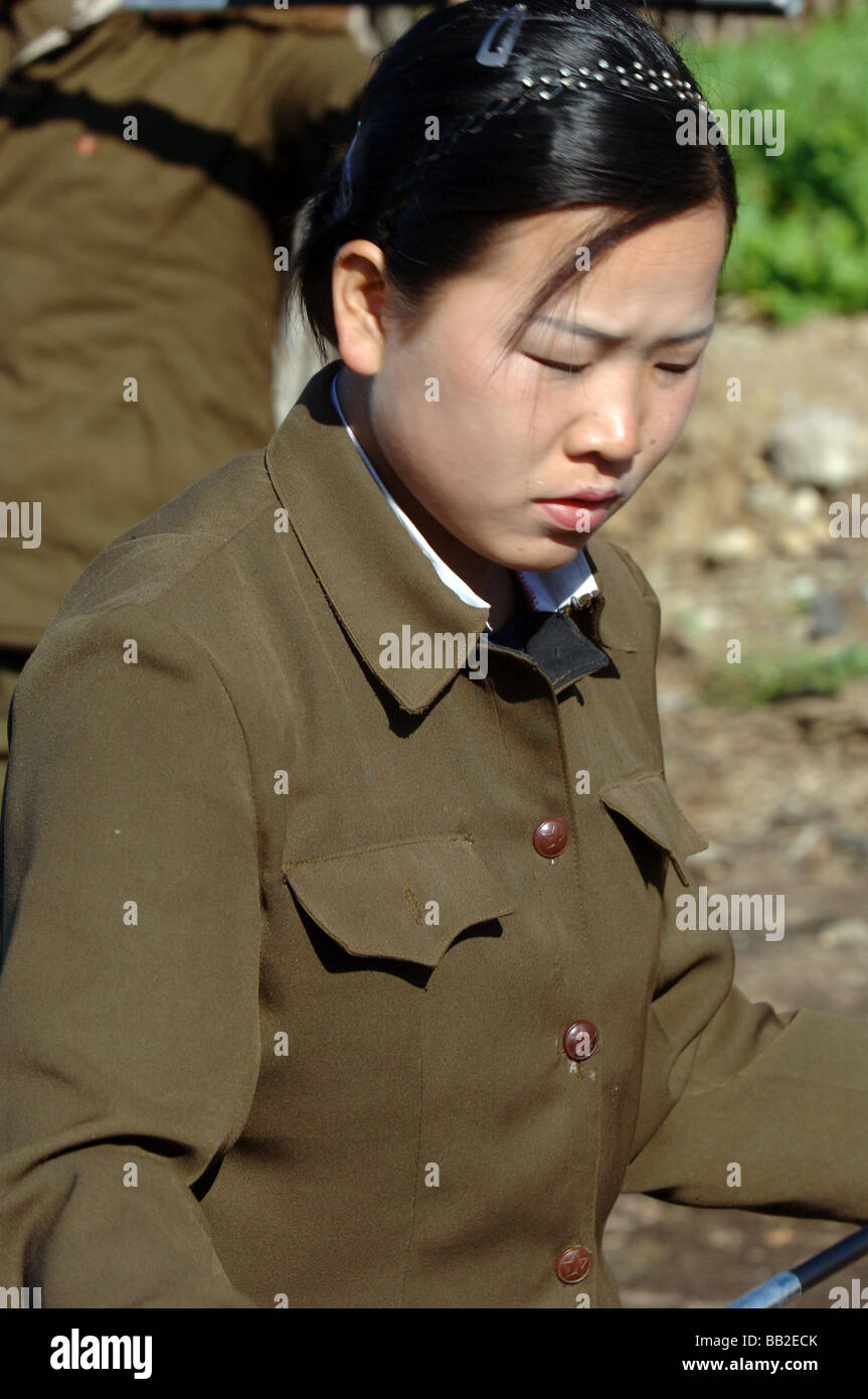 Woman in the Peoples Army North Korea - Stock Image