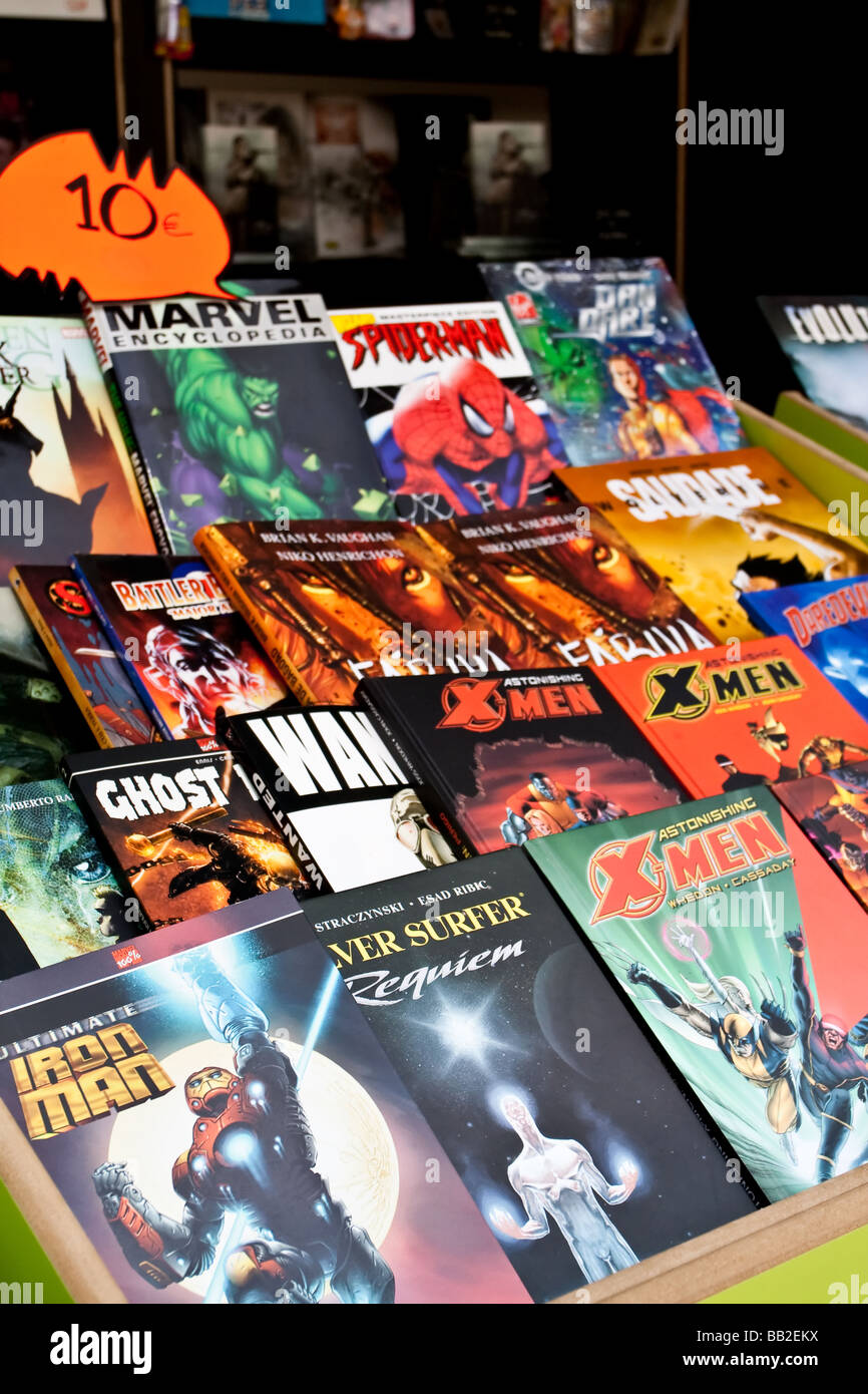 Comic Books of several Marvel Super-Heroes, in the 79th Lisbon Book Fair- 2009. - Stock Image