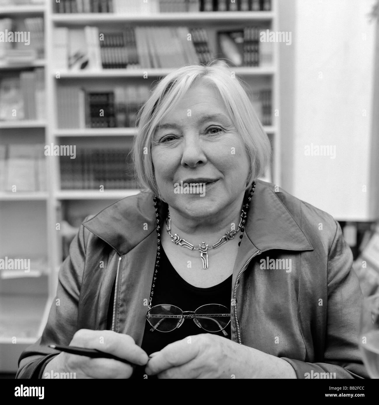 British author Fay Weldon at the Hay Festival Hay-on-Wye Wales UK Stock Photo