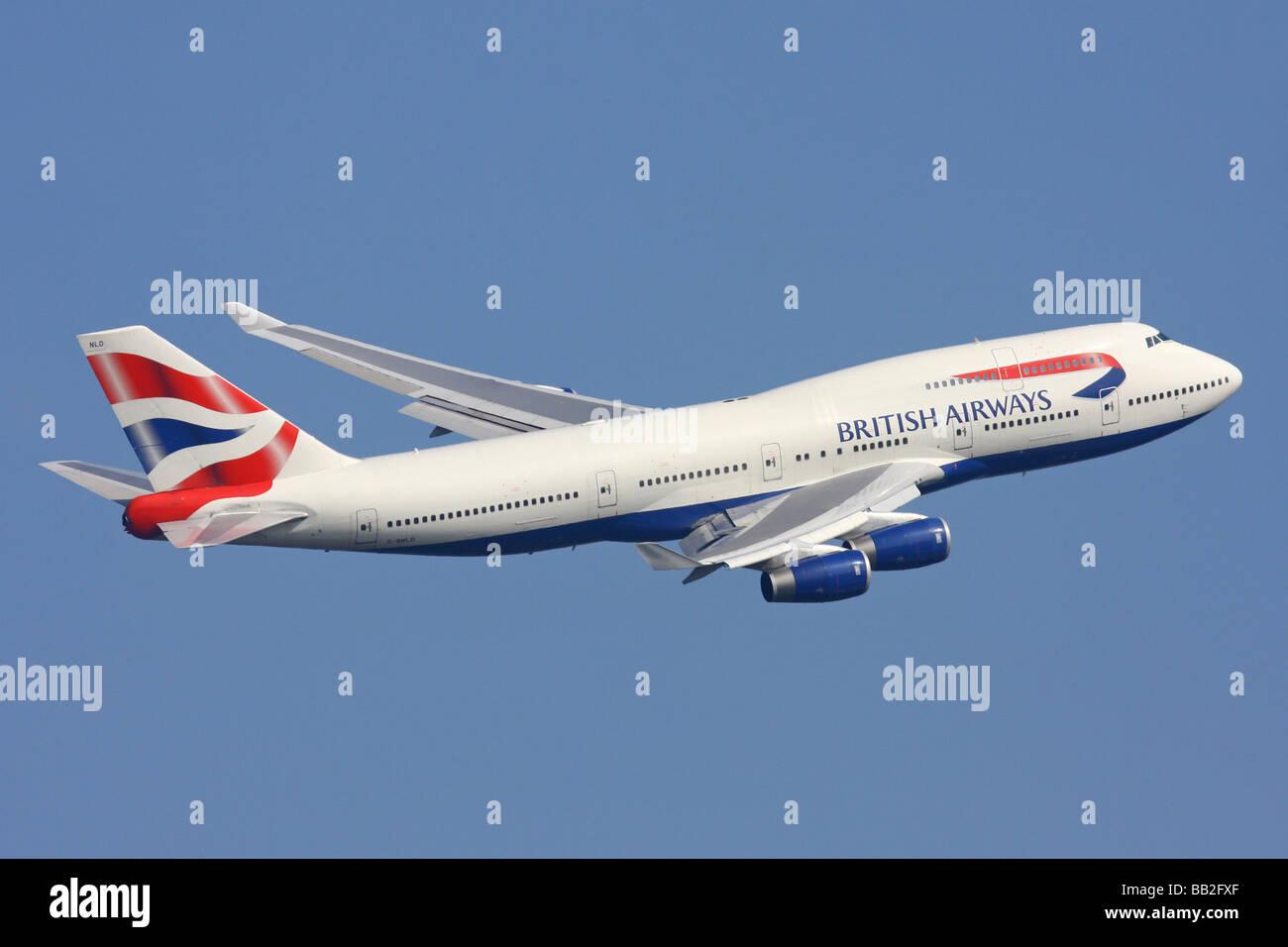 British Airways Boeing 747 departing London Heathrow - Stock Image