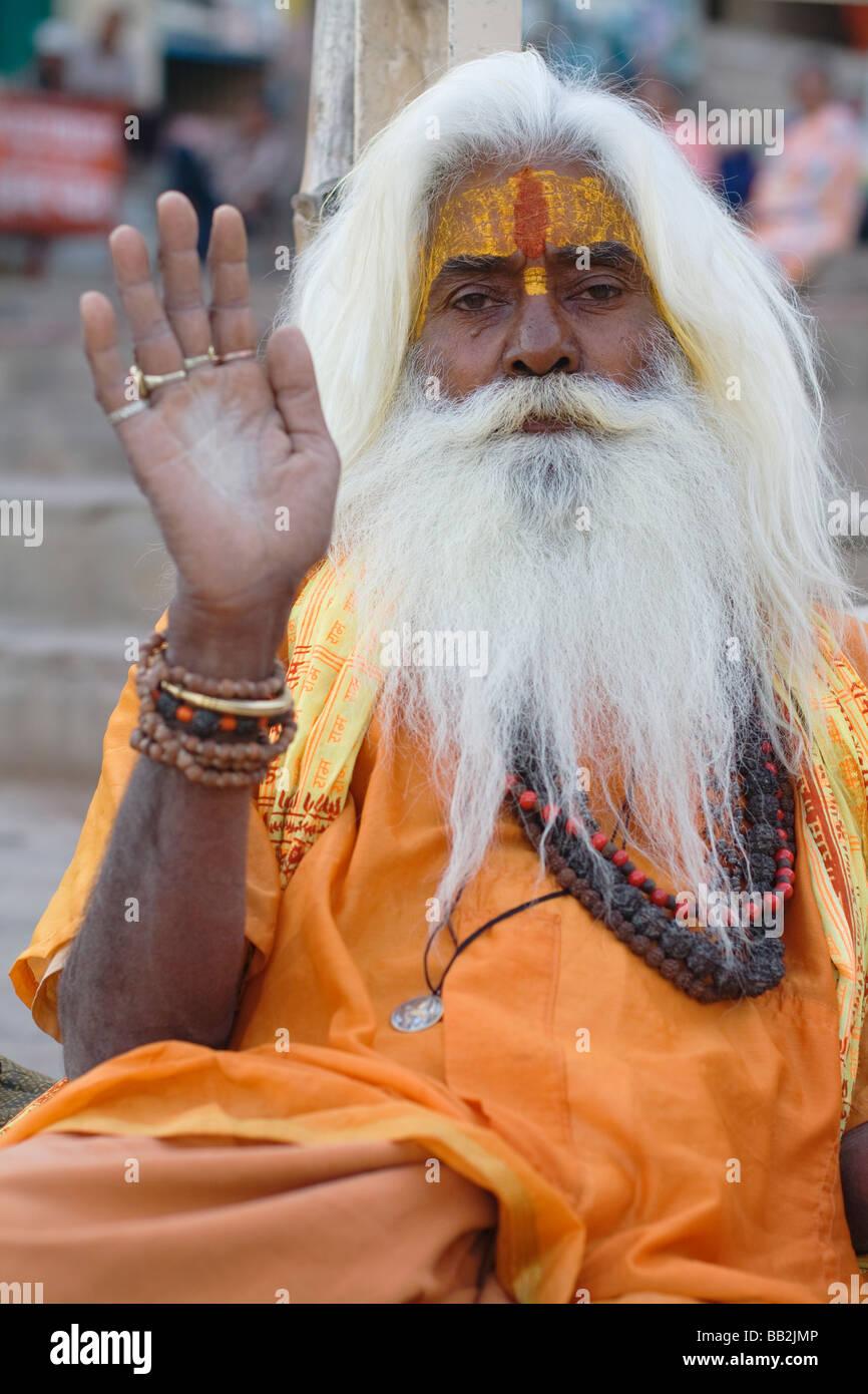 Portrait of an Indian Sadhu - Stock Image