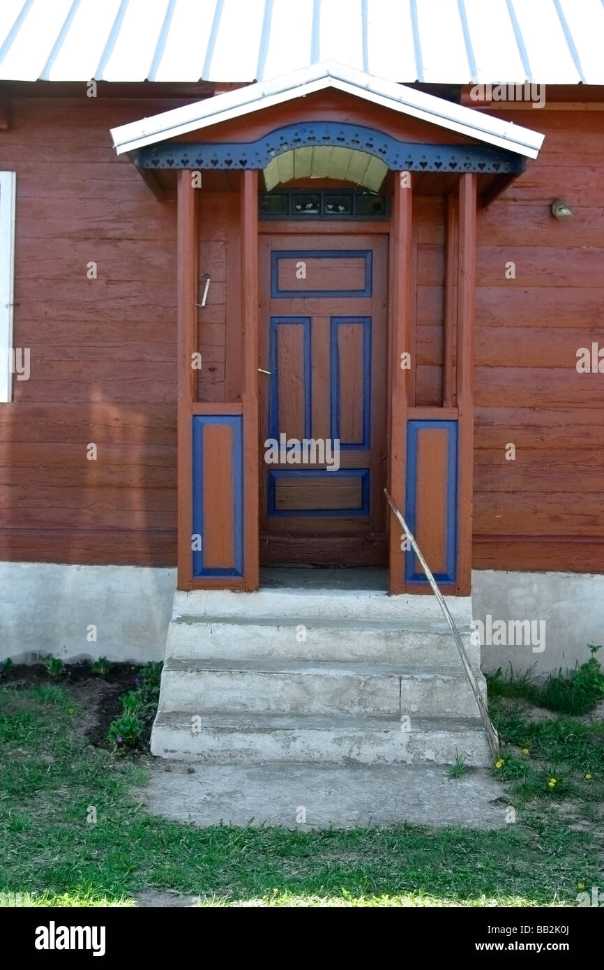 Traditional wooden house in Soce village Poland - Stock Image