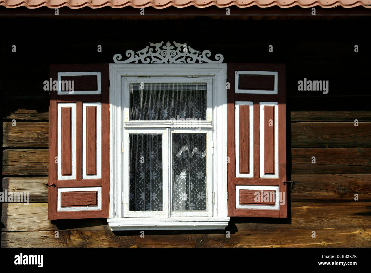 Decorated windows in Soce village, Poland Stock Photo