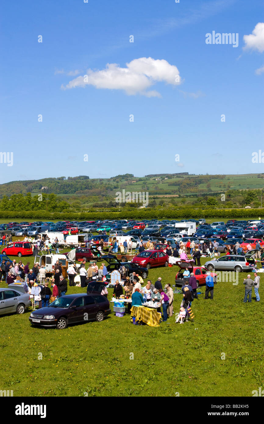 Corbridge wednesday car boot fair Northumberland - Stock Image