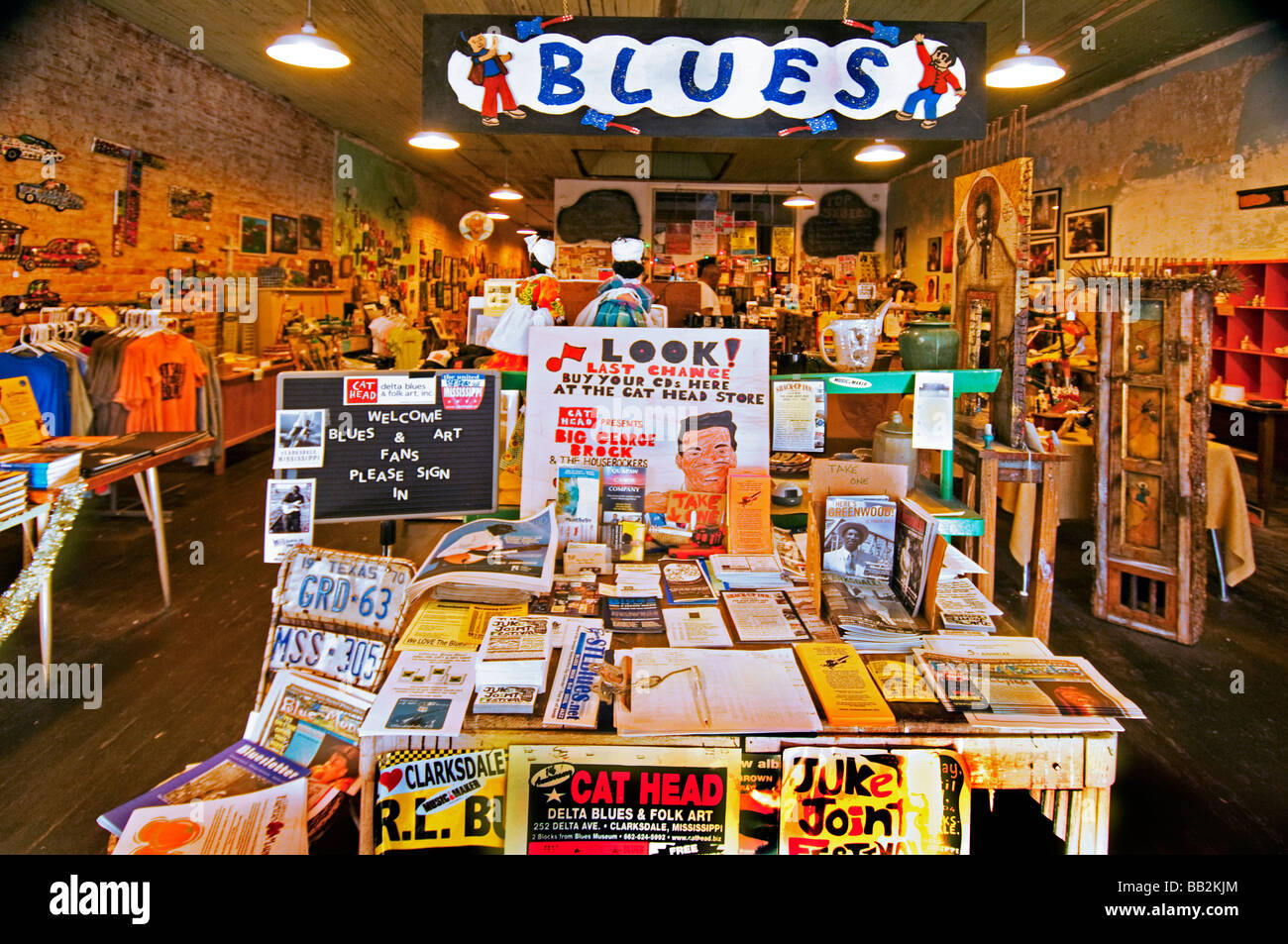 Interior of the Cat Head Delta Blues and Folk Art record store in Clarksdale, Mississippi - Stock Image