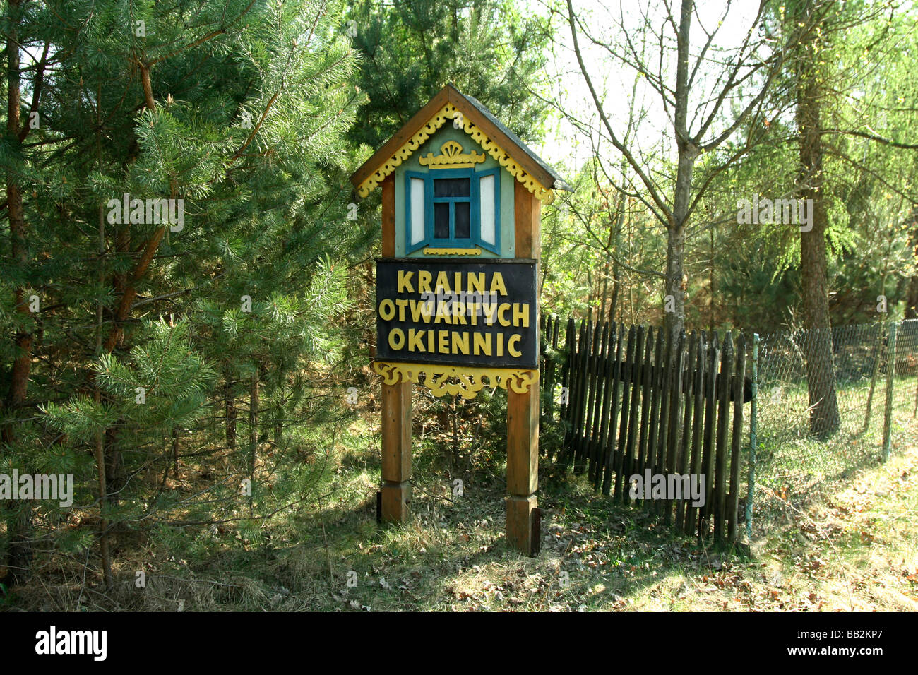 Kraina Otwartych Okiennic 'A country of open shutters' sign in Soce village Poland - Stock Image