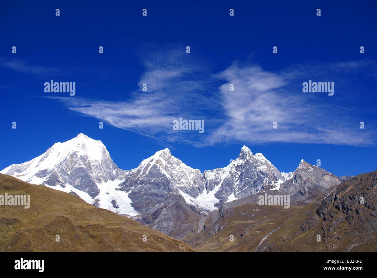 Siula Yerupaja Jirishanca Cordillera Huayhuash Andes Peru South America - Stock Image