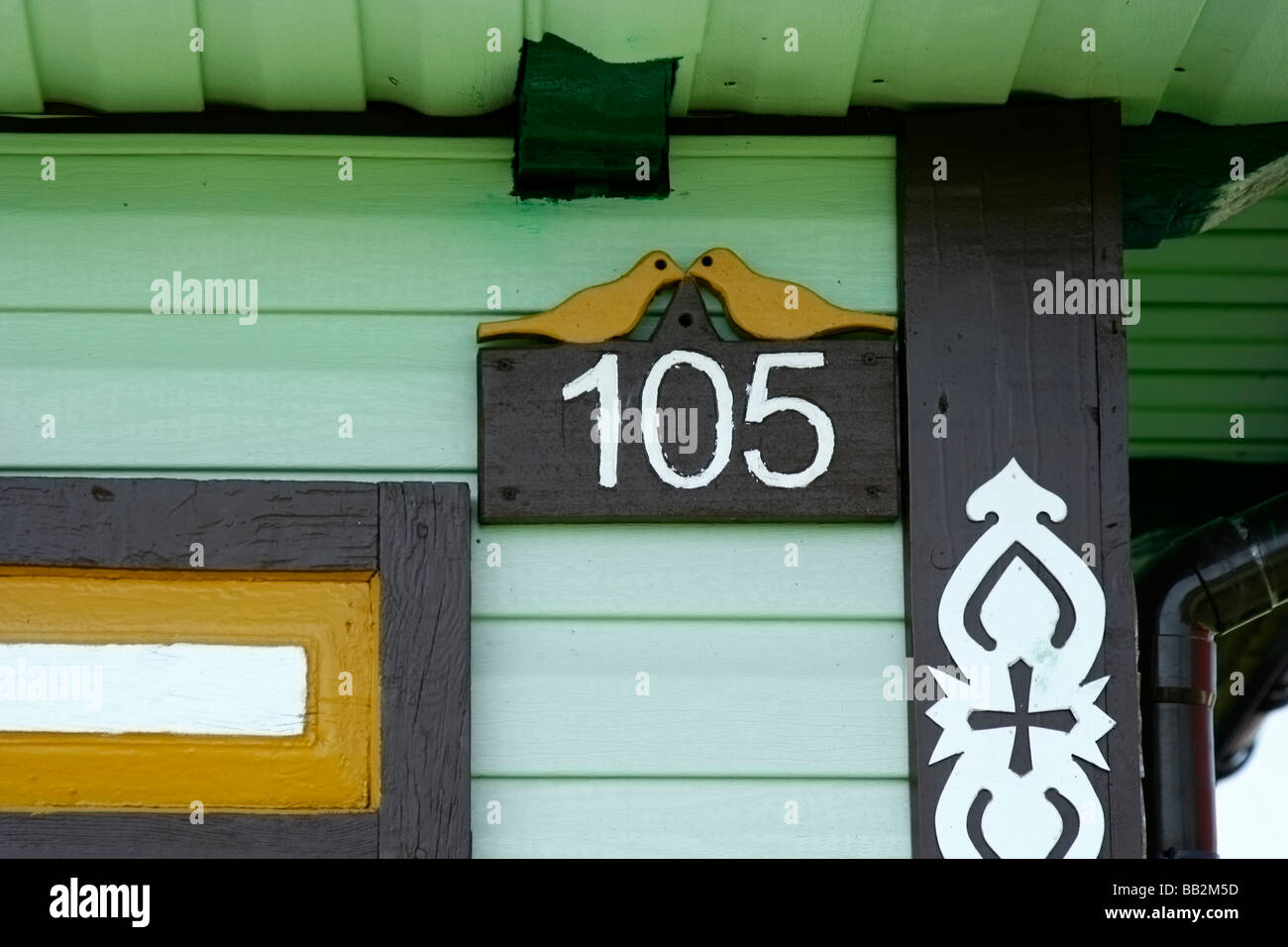 105 house number in Soce village, Poland - Stock Image