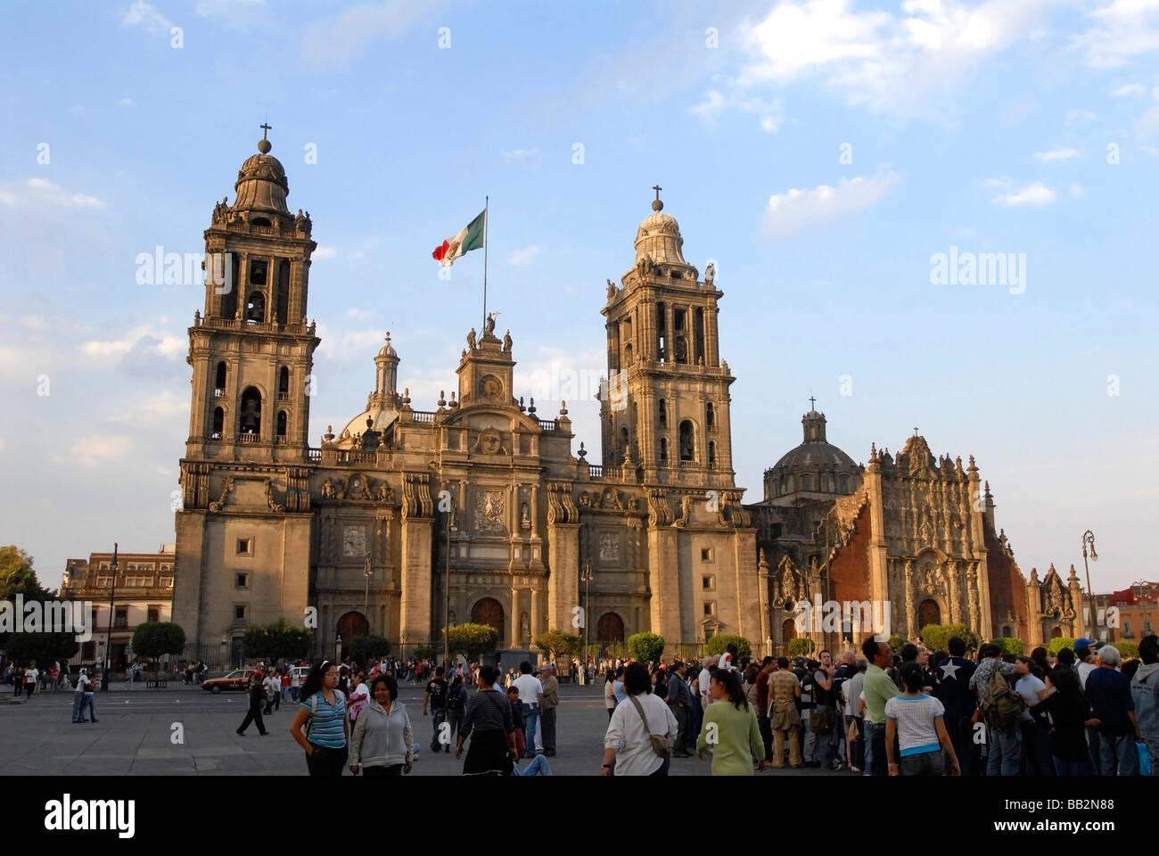 Catedral Metropolitana (Metropolitan Cathedral) in El Zocalo (Plaza de la Constitution) Mexico City, Mexico. - Stock Image