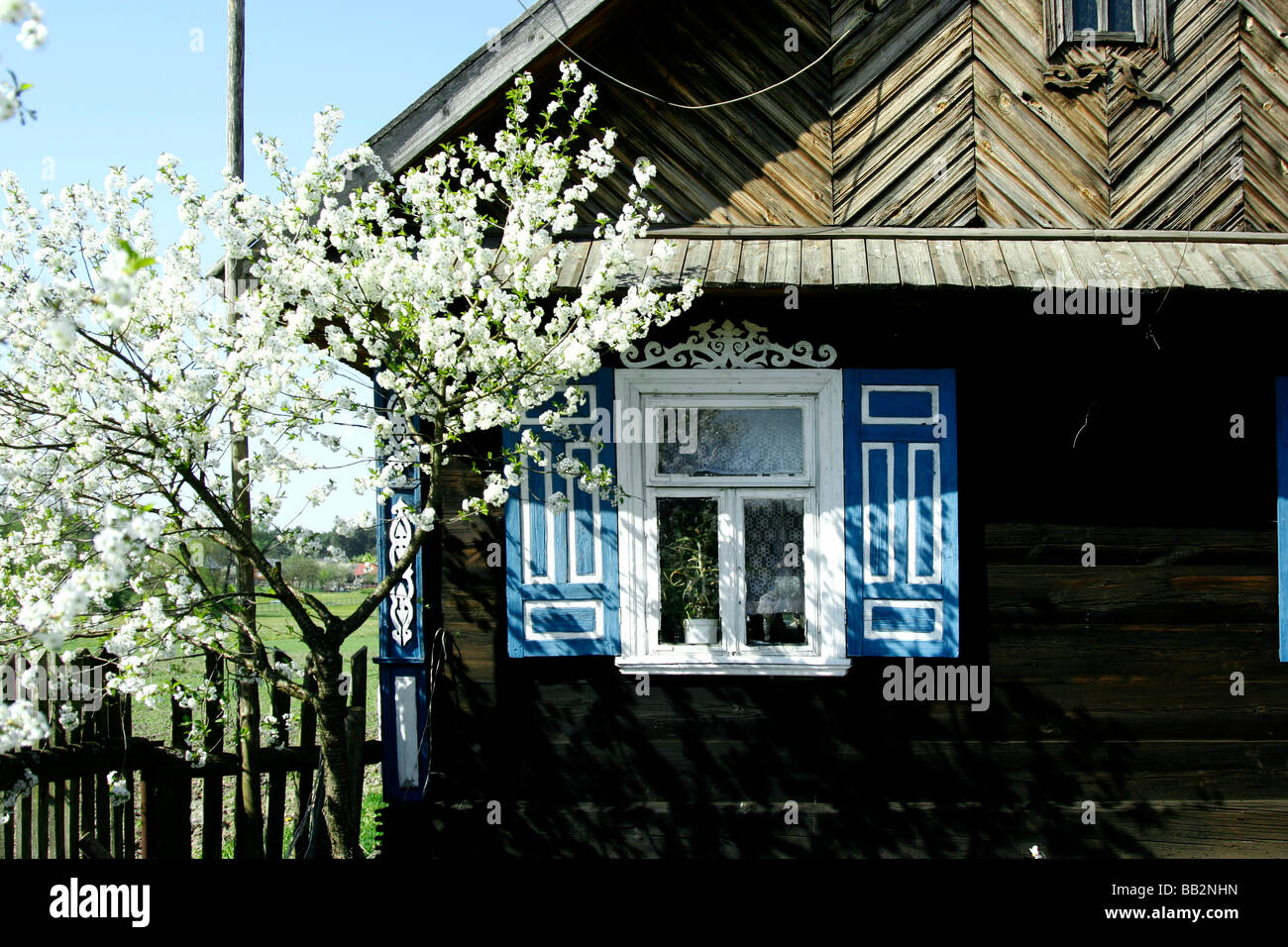 Decorated windows in Soce village, Poland - Stock Image