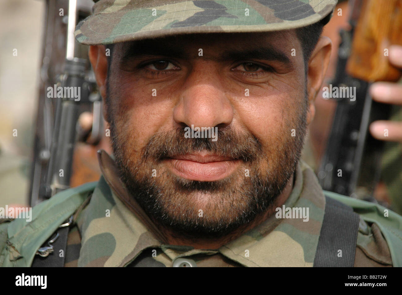 Portrait of an Afghan National Army (ANA) recruit in basic training at the Kabul Military Training Centre, Afghanistan. - Stock Image
