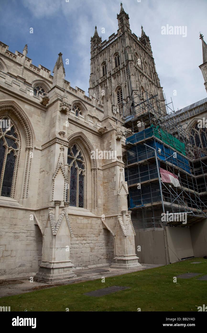 Restoration of eroded stonework Gloucester cathedral UK - Stock Image
